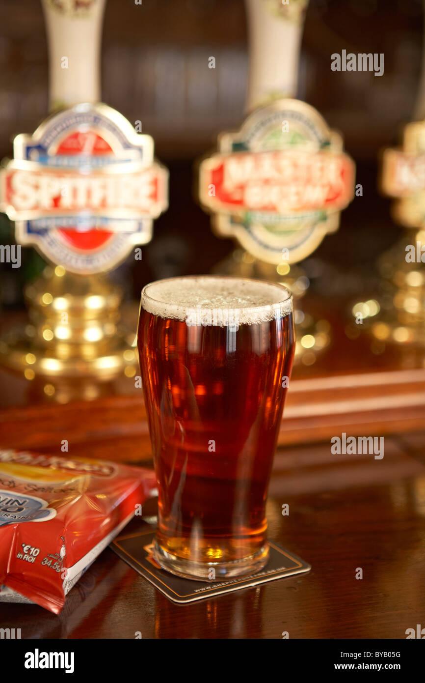 Pint of English Beer - Stock Image