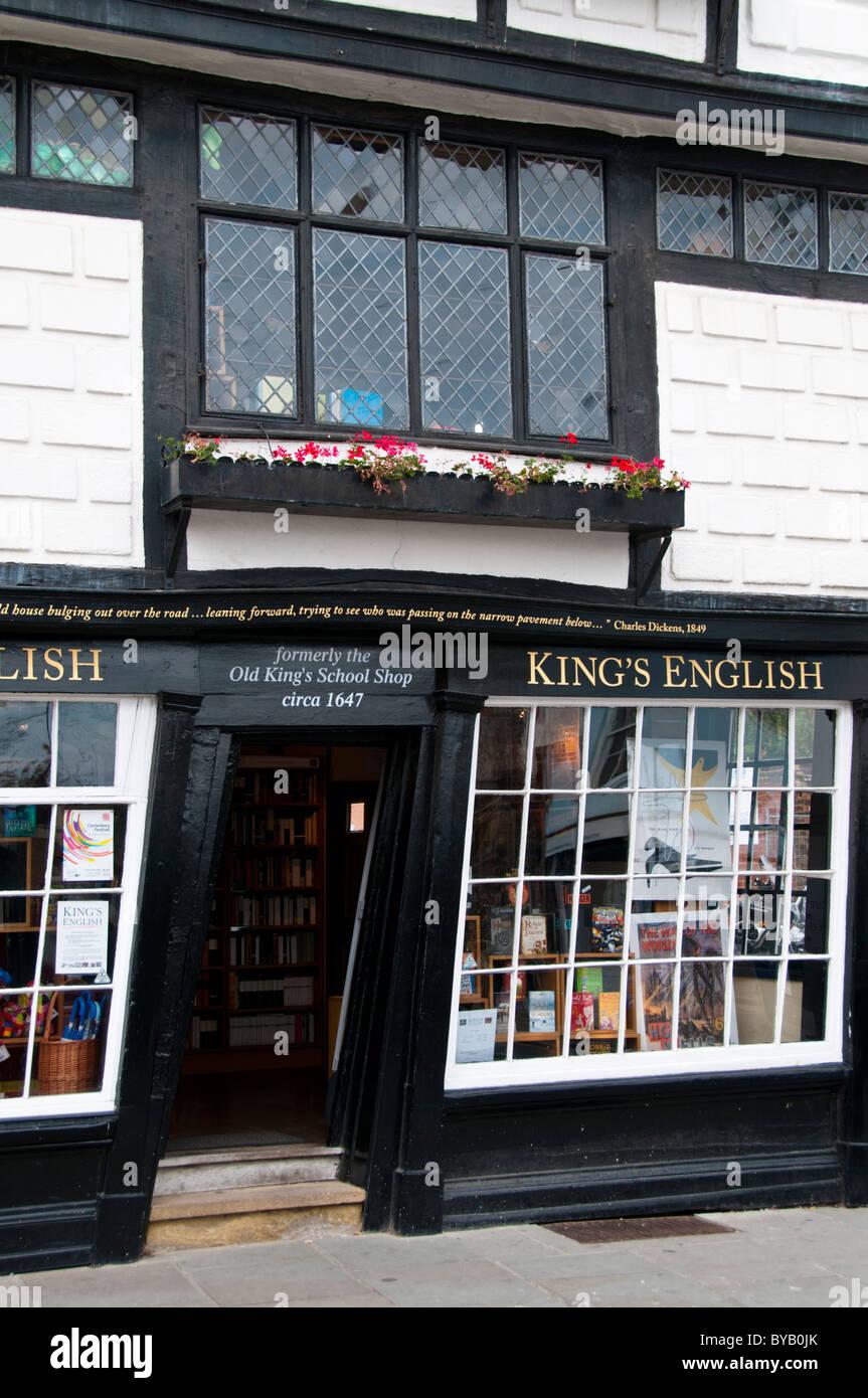 Old King's school shop crooked house, Canterbury, Kent, UK - Stock Image