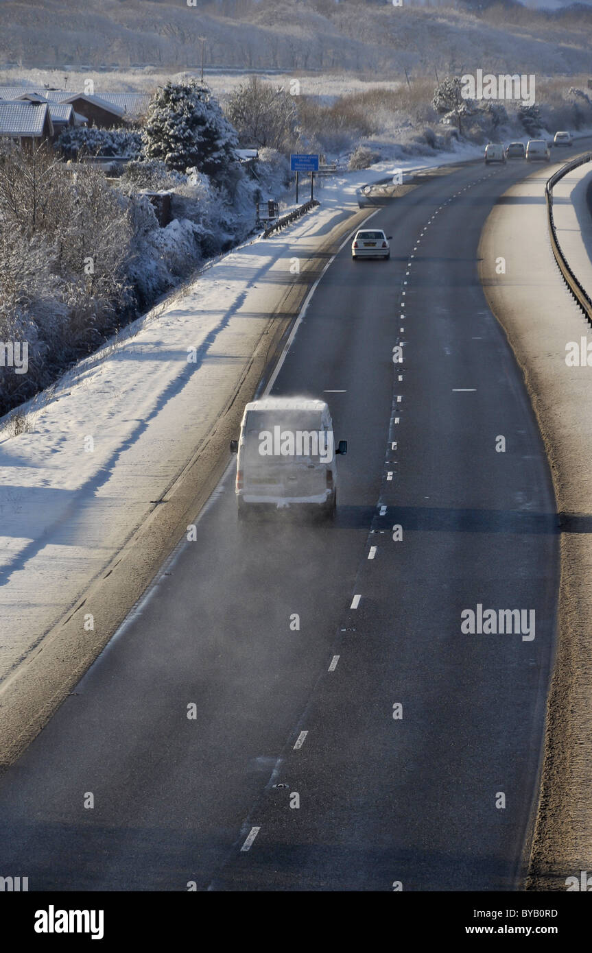 Adverse Winter road conditions A55 North Wales - Stock Image