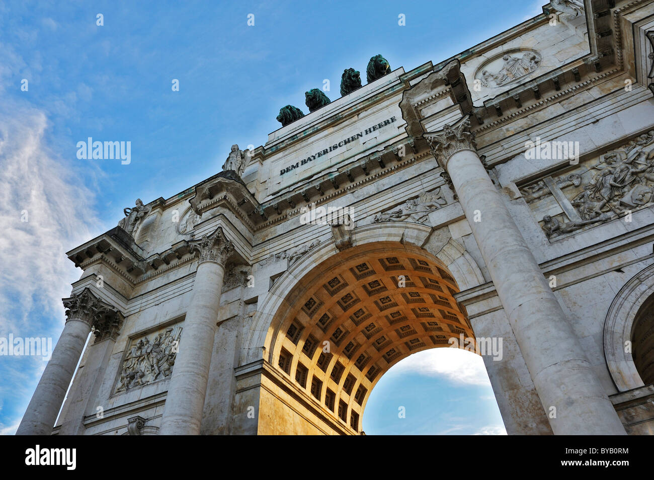 Victory Gate with Corinthian columns, north side, left, Munich, Bavermany, Europe - Stock Image