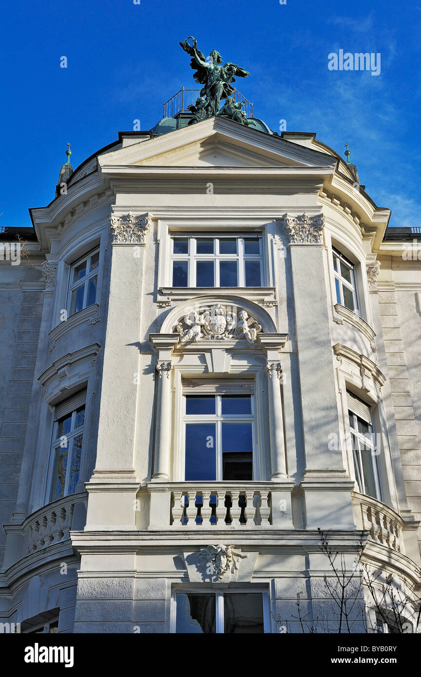 Neo-classical facade with Art Nouveau and Baroque elements, Schackstrasse, Munich, Bavaria, Germany, Europe - Stock Image