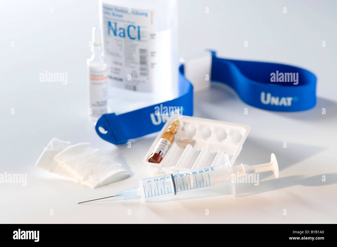 Syringe, infusion solution, ampoule, ampule Stock Photo