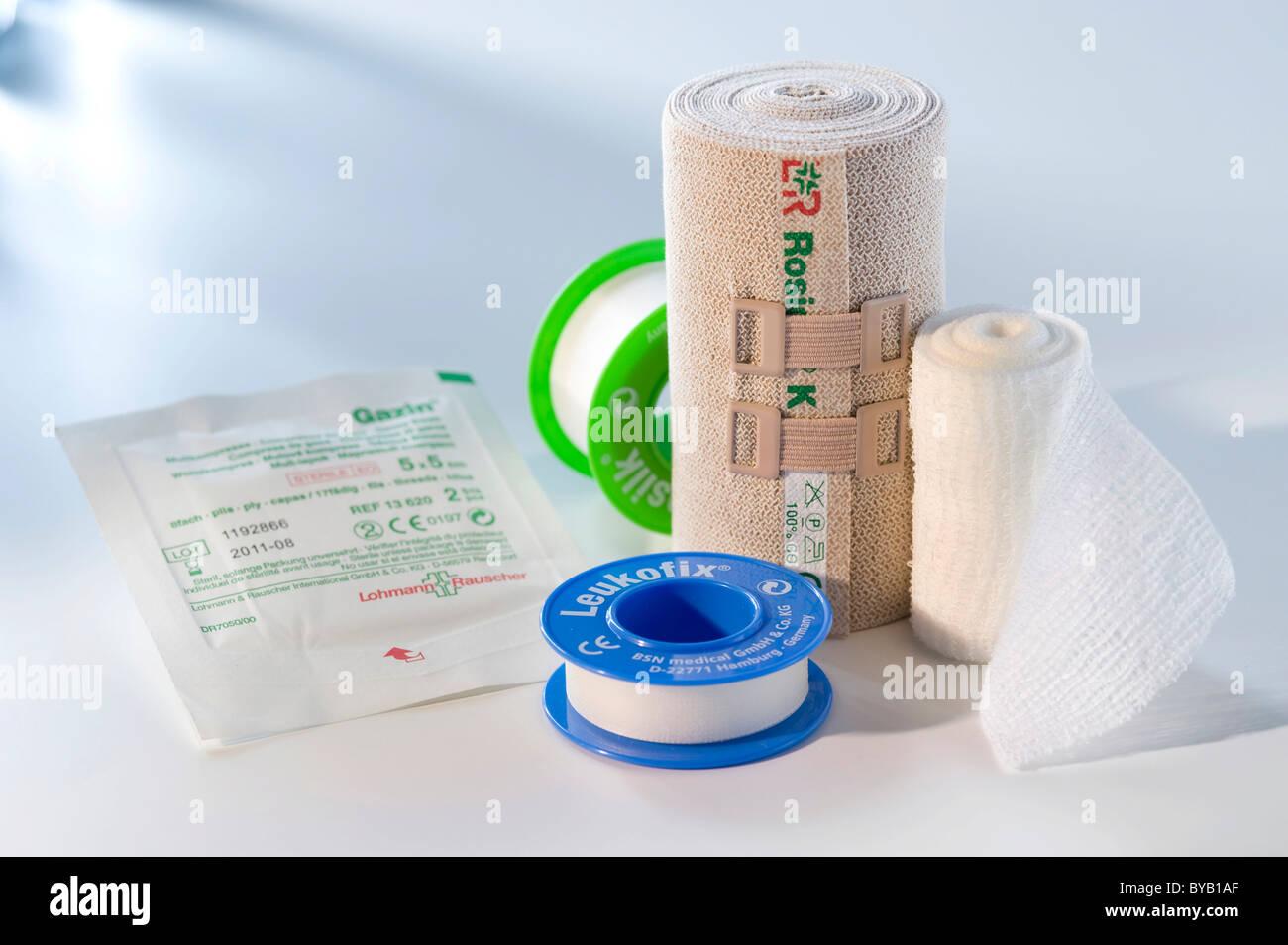 Dressing material, medical adhesive tape, plaster - Stock Image