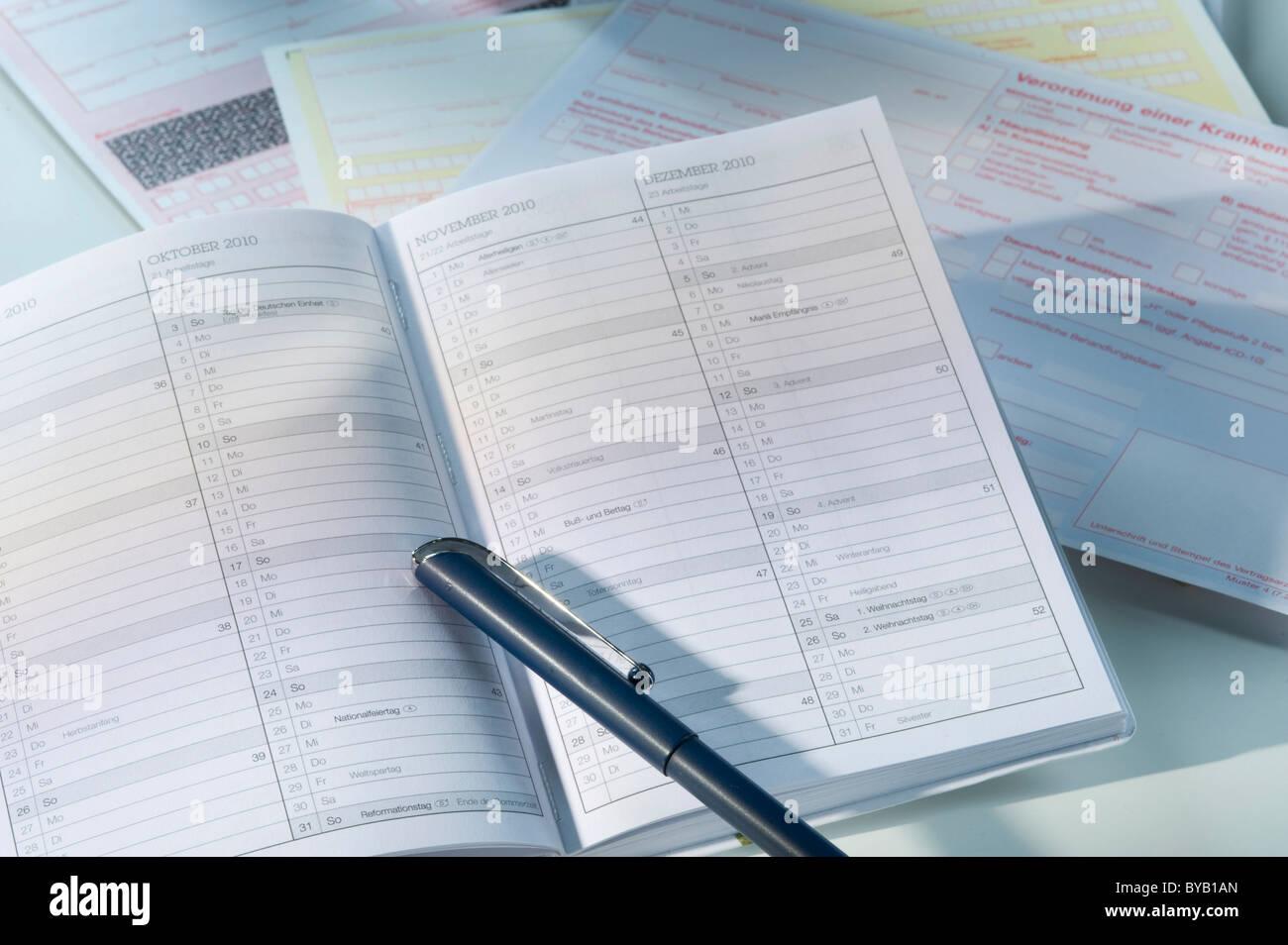 Diary, calendar - Stock Image