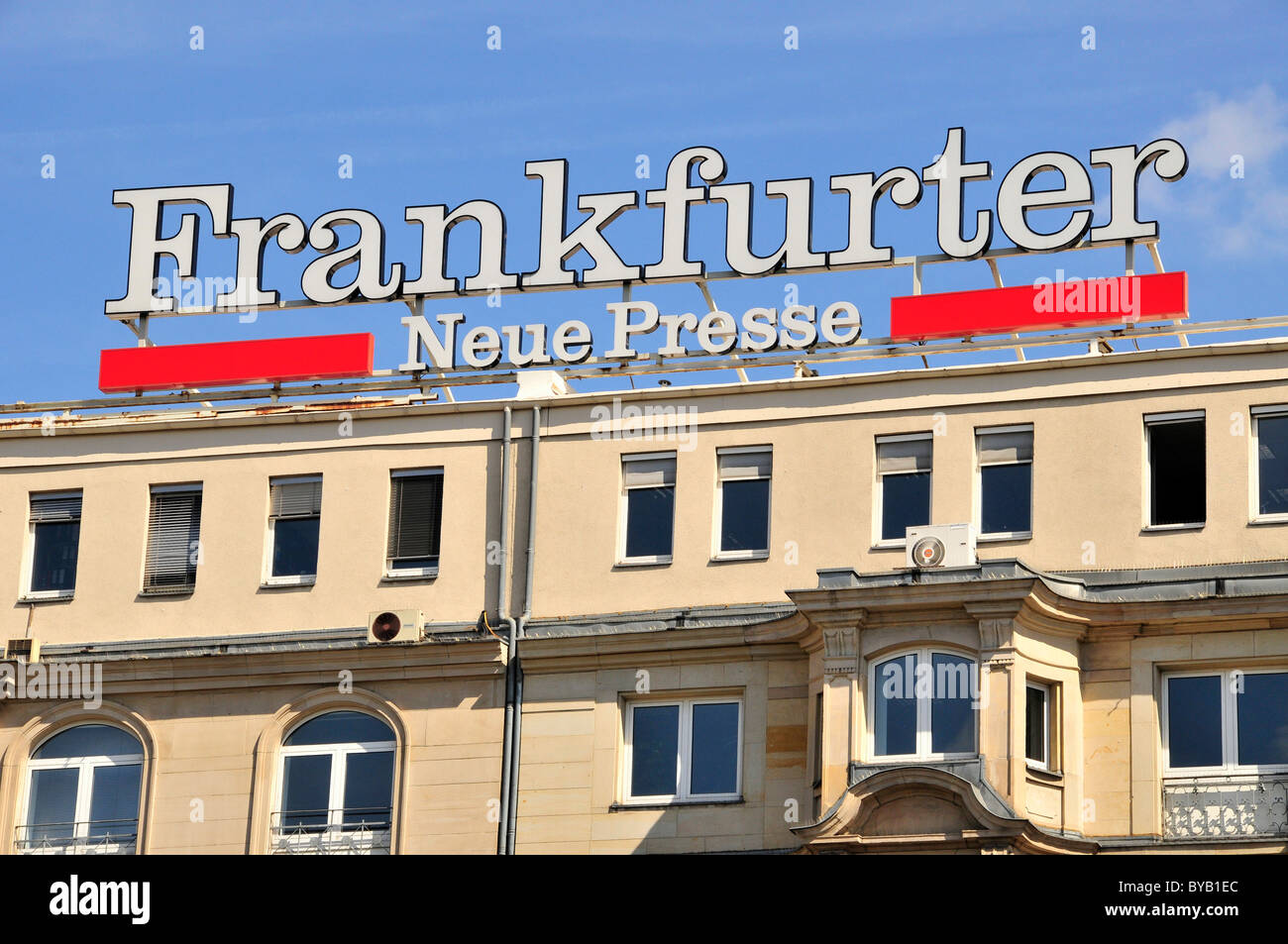 Facade at the main train station with ads for the Frankfurter Neue Presse, Frankfurt, Hesse, Germany, Europe - Stock Image