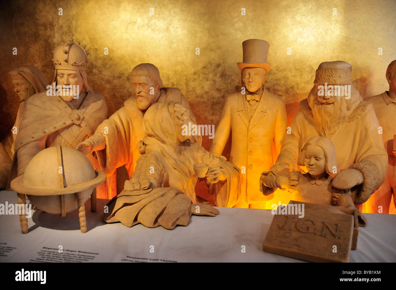 Marzipan figures in the Niederreger marzipan museum with Johann Georg Niederegger, founder of the Niederreger marzipan Stock Photo