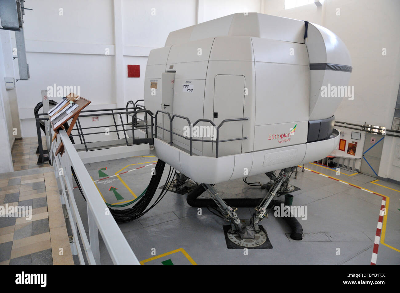 Ethiopian Airlines flight simulator at the airport in Addis Ababa, Ethiopia, Africa - Stock Image