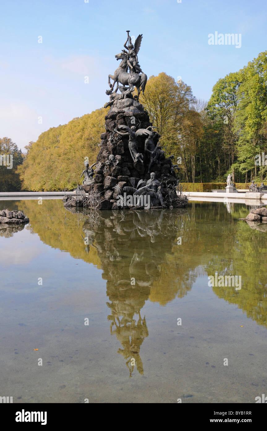 Fountain, Herrenchiemsee, Herreninsel, Bavaria, Germany, Europe - Stock Image