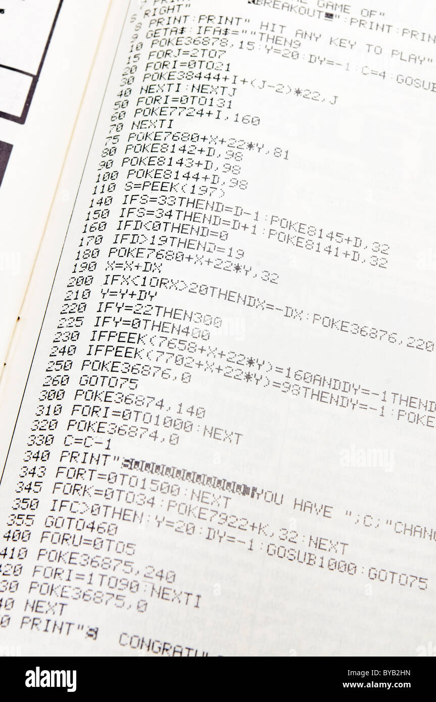 BASIC program in a computer magazine from 1983 - Stock Image