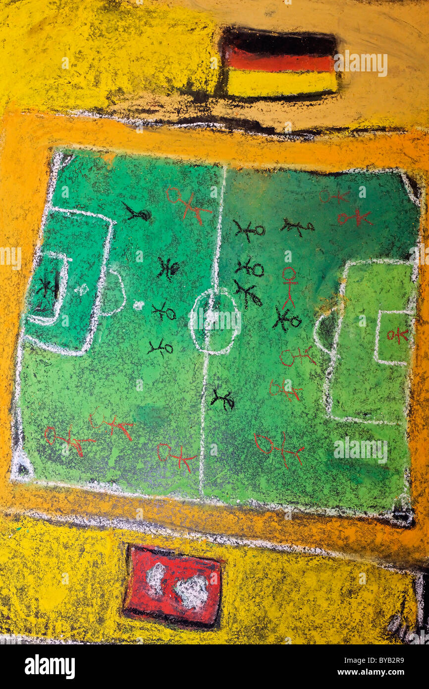 Soccer field and a German national flag, chalk drawing, painted on the floor by children, Germany, Europe - Stock Image