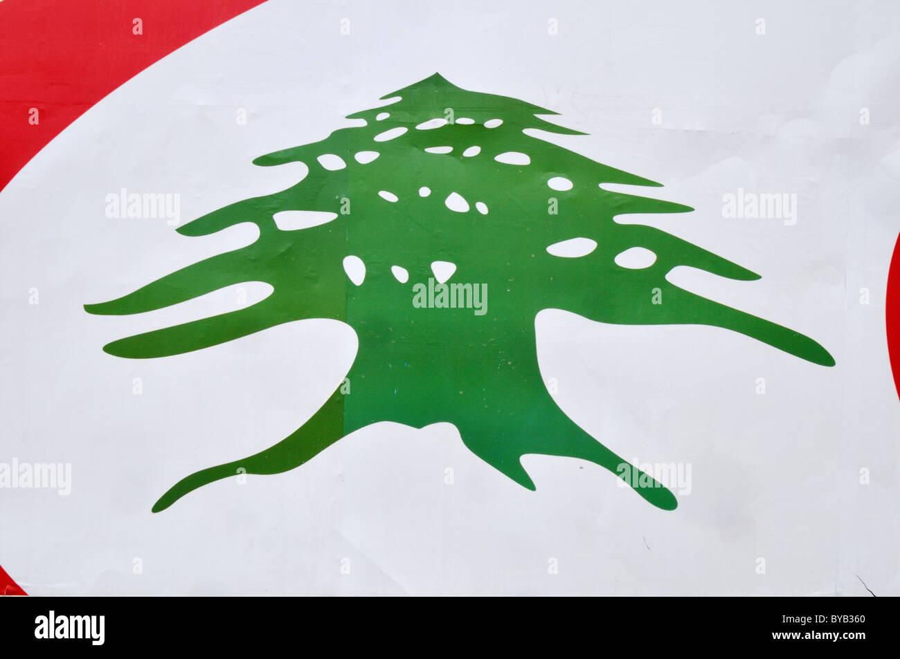 Cedar Tree Logo, Lebanon, Middle East, West Asia Stock Photo