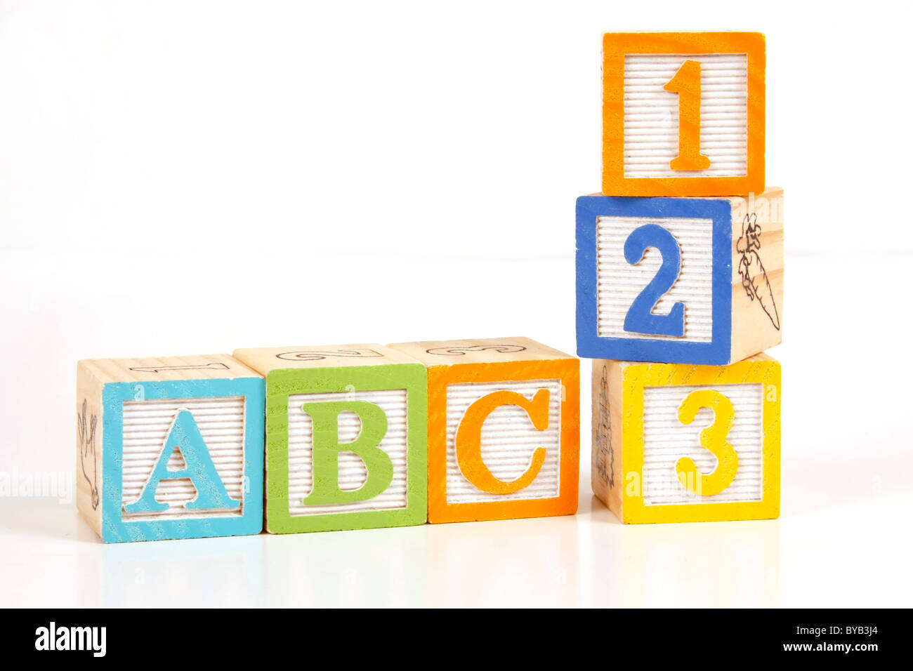 Childrens colorful blocks say abc and 123. Stock Photo