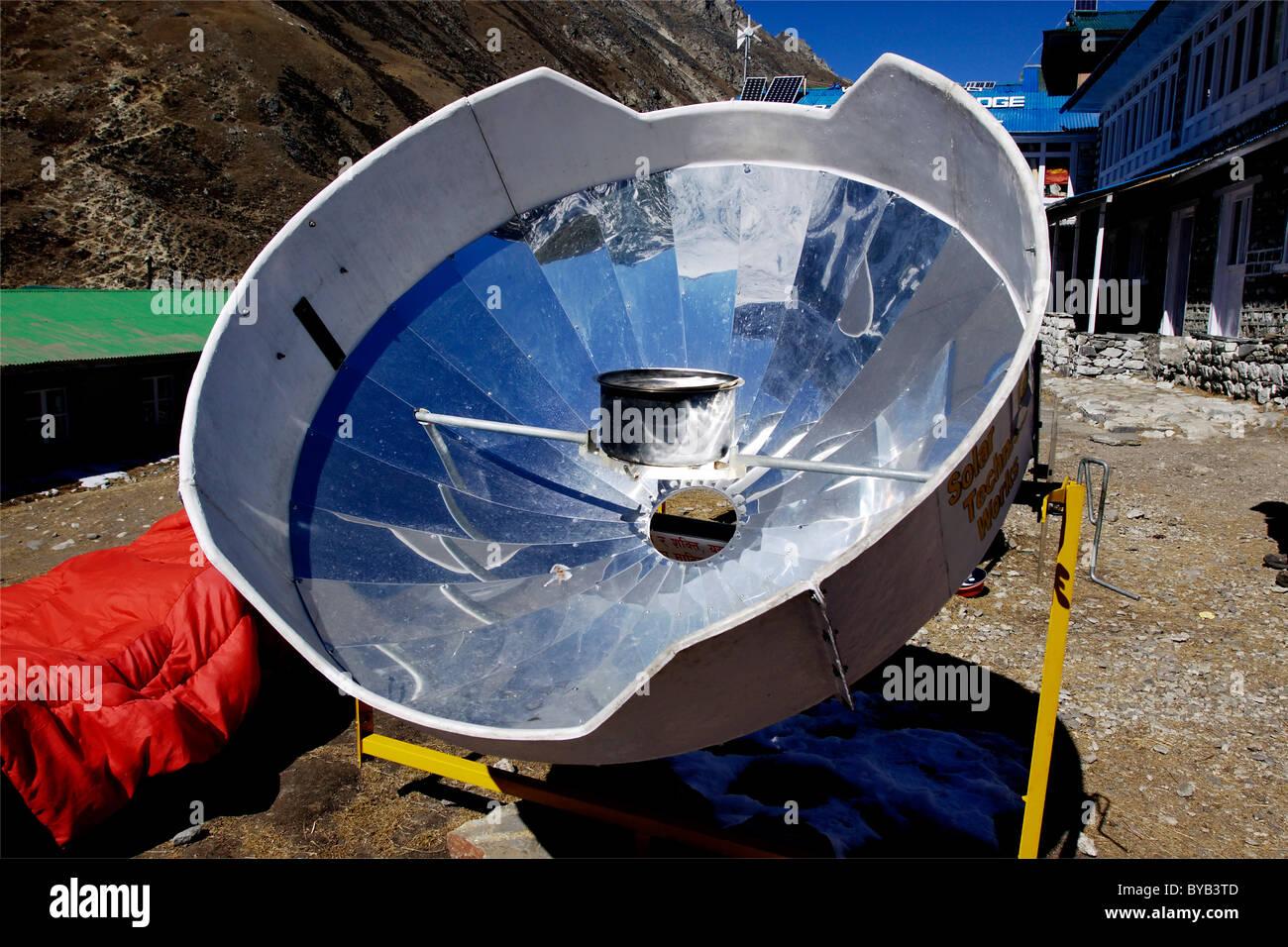 Solar mirror for heating water, Gokyo, Khumbu, Sagarmatha National Park, Nepal, Asia - Stock Image