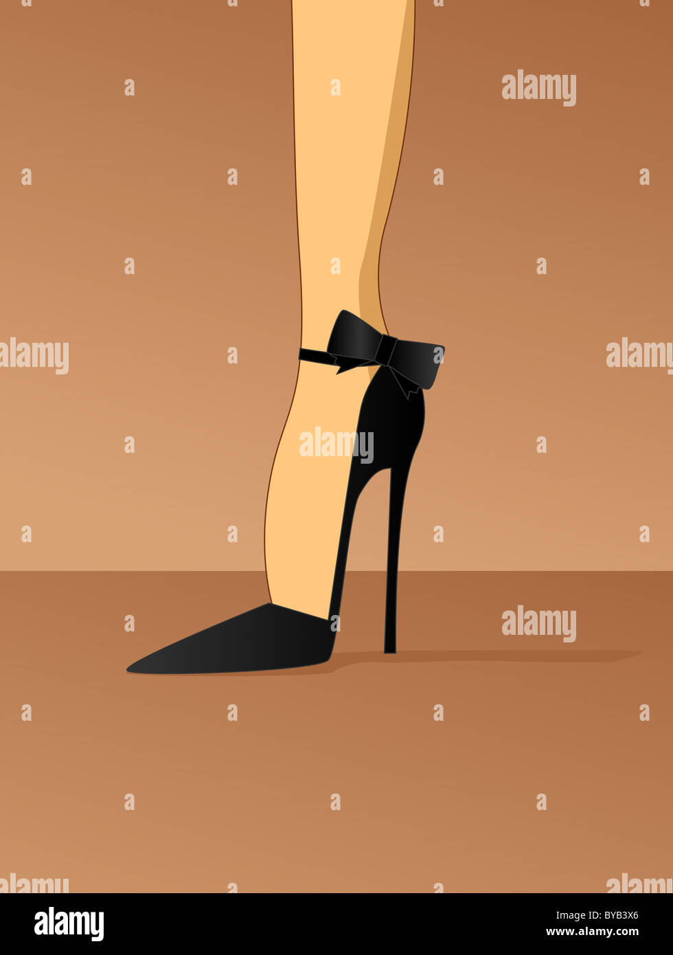 Illustration of a woman wearing a black stiletto high heel shoe - Stock Image