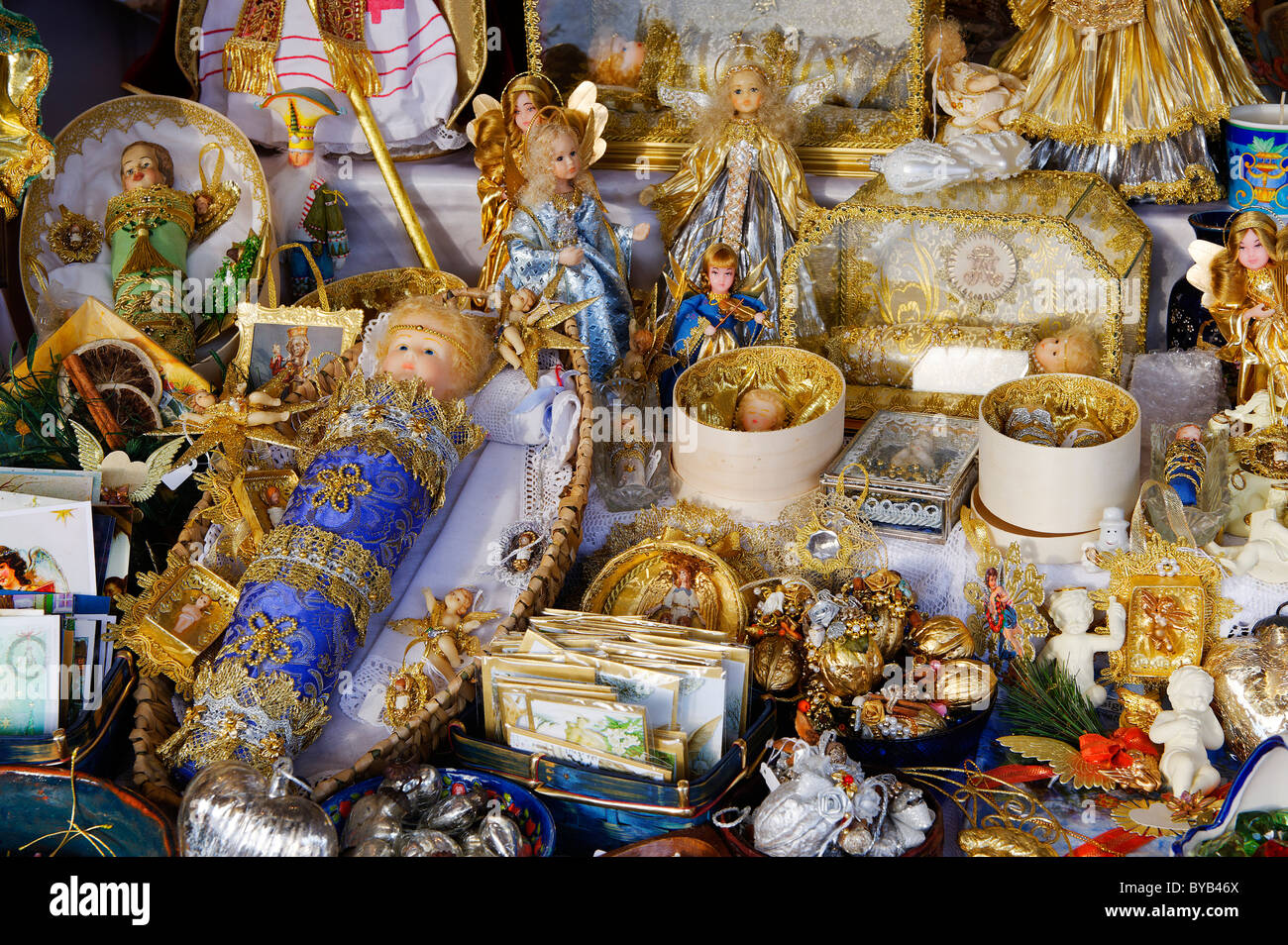 Religious handicraft by U Muster, Garching, christmas market, Kapellplatz, Altoetting, Upper Bavaria, Germany, Europe - Stock Image