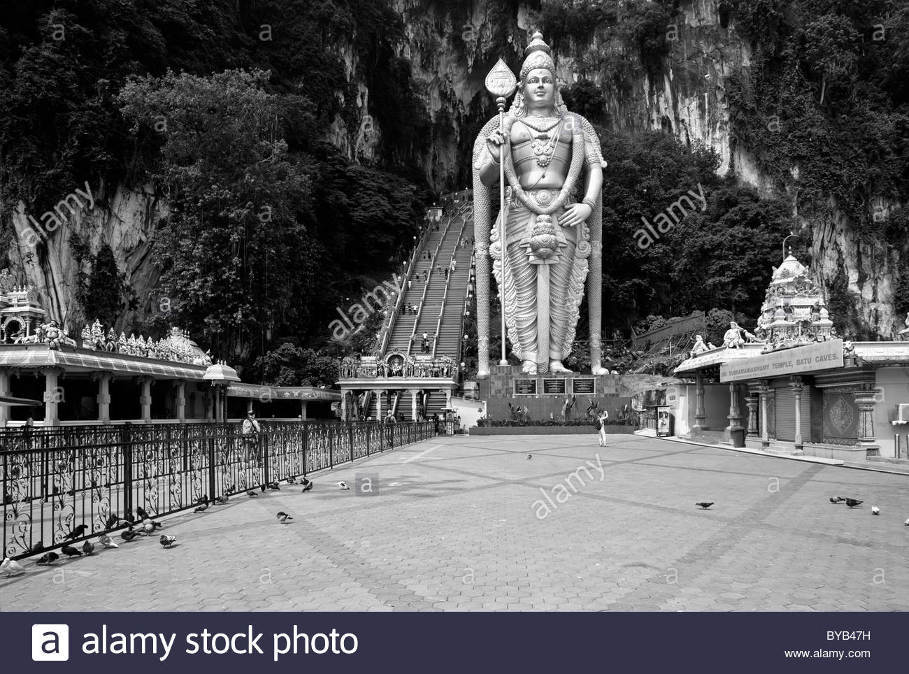 statue of the god Murugan at the forecourt of the Batu Caves, creative, limestone caves near Kuala Lumpur, Malaysia, - Stock Image