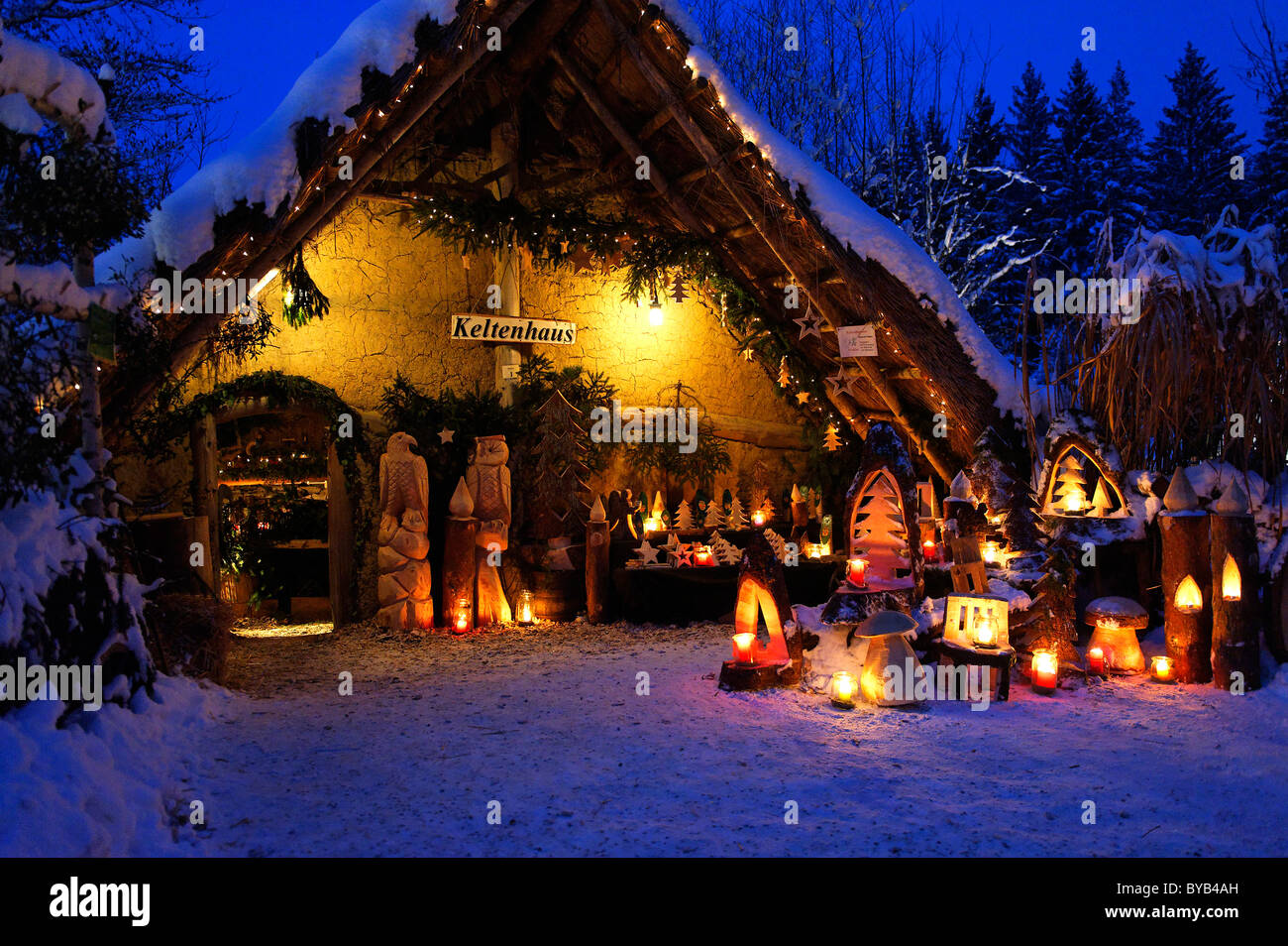Christmas market at the Waldbuehne, forest stage, Halsbach, Upper Bavaria, Germany, Europe - Stock Image