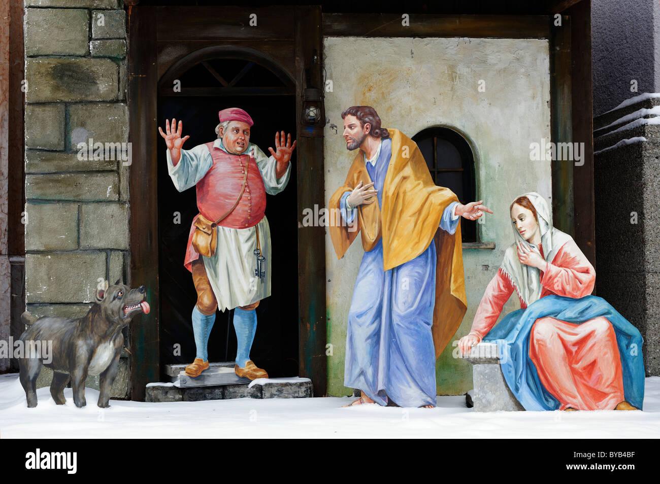 Looking for a hostel, nativity scene, Bruder-Konrad-Platz square, Altoetting, Upper Bavaria, Germany, Europe - Stock Image