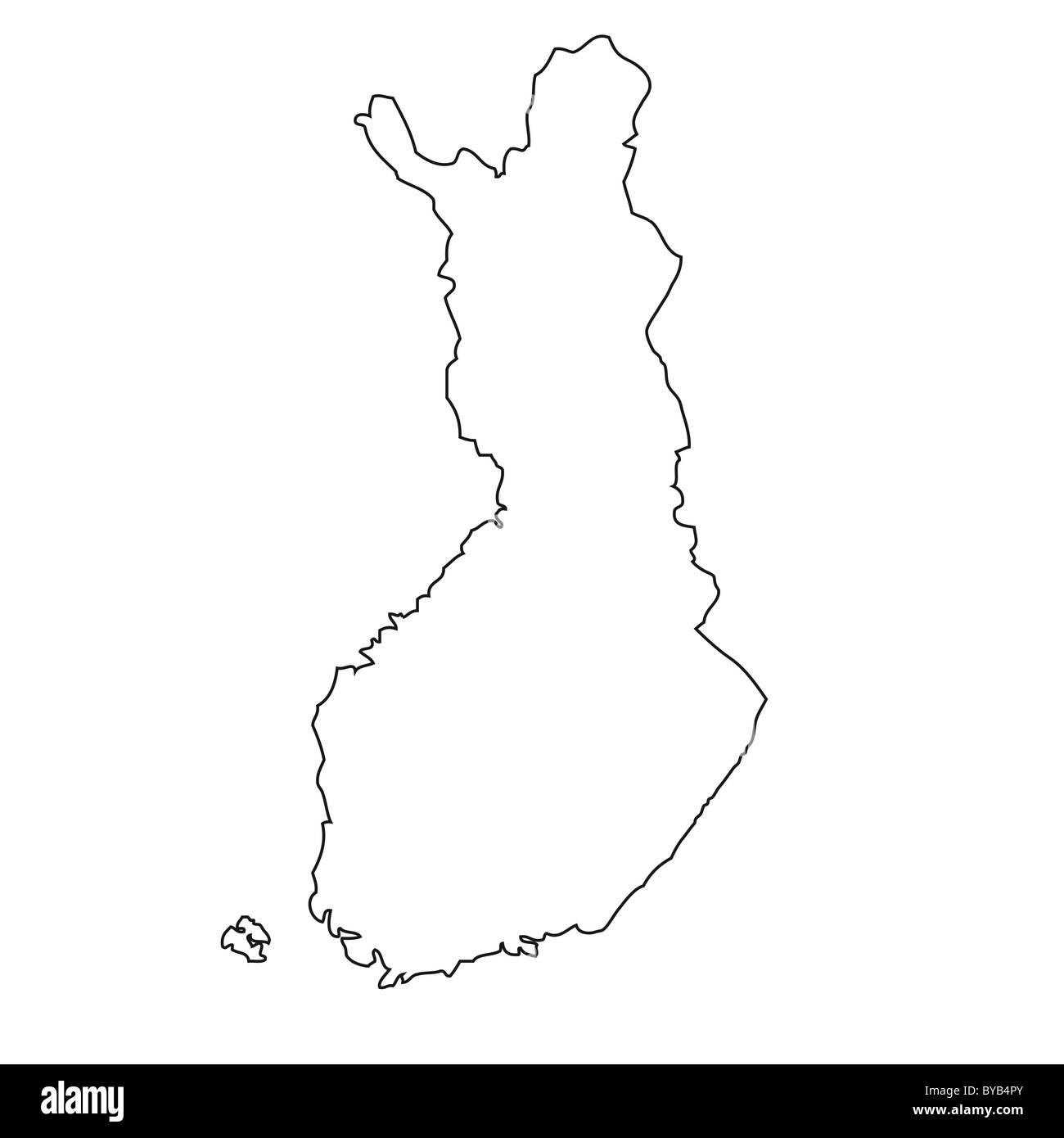 Outline, map of Finland Stock Photo: 34051331 - Alamy