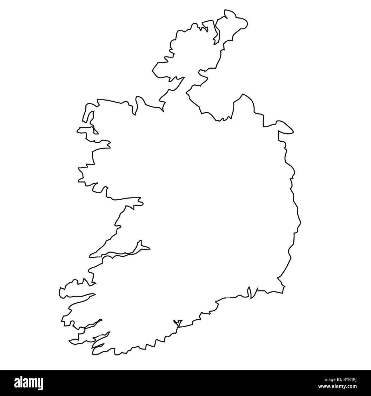 Outline Map Of Ireland.Outline Map Of Ireland Stock Photo 34051350 Alamy