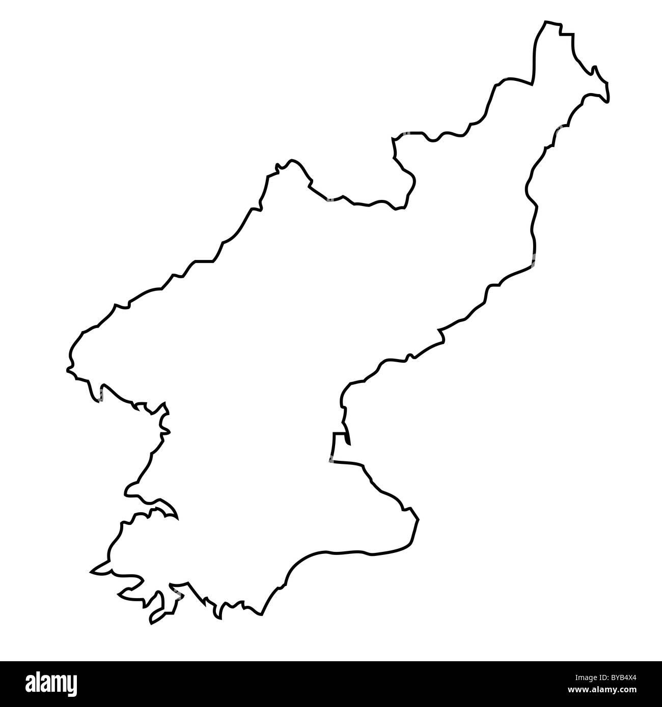 Outline Map Of North Korea Stock Photo 34051420 Alamy