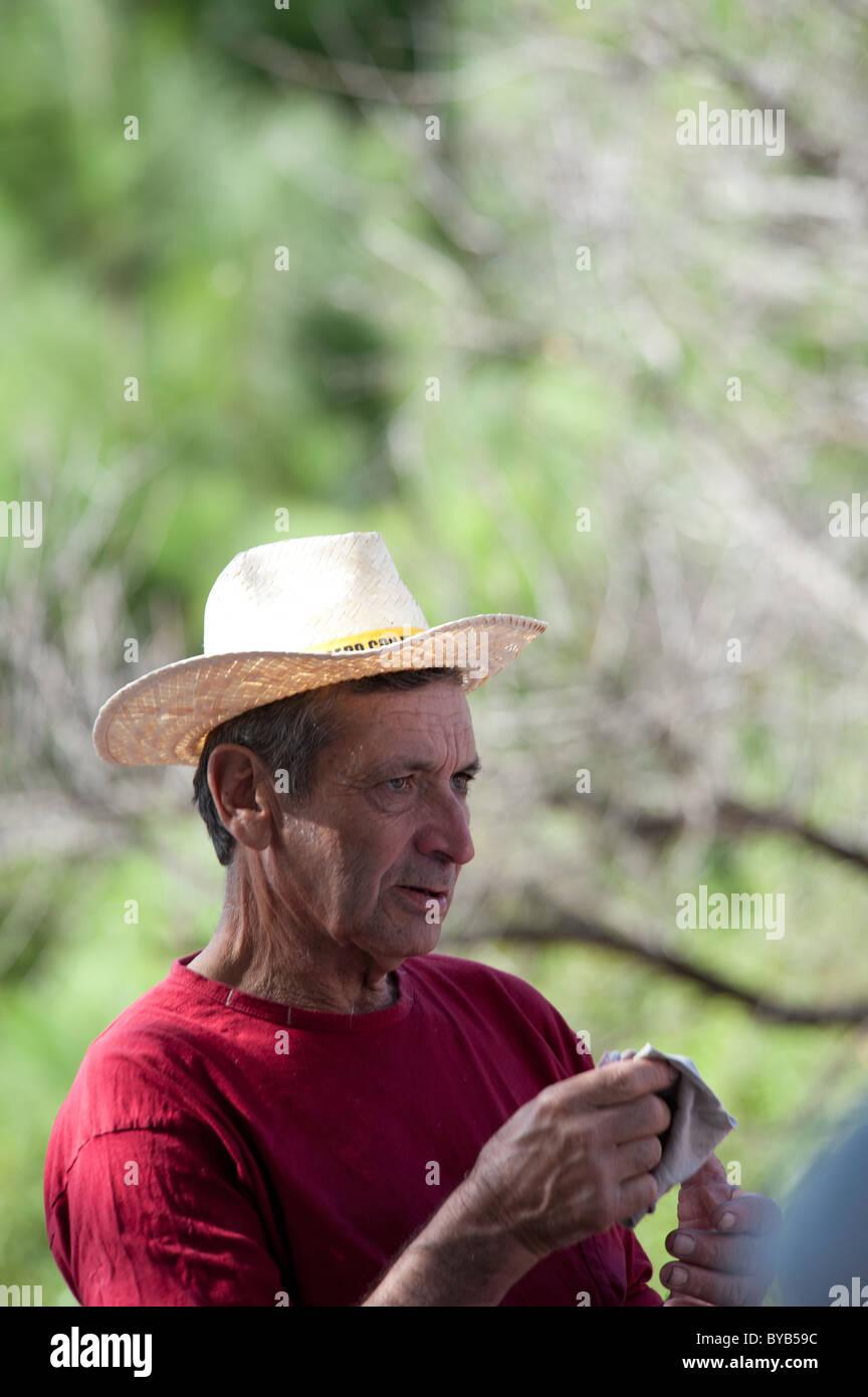 Local man of La Palma at the festival of San Martin de Porres in El Barrial de abajo, El Paso, La Palma, Canary - Stock Image