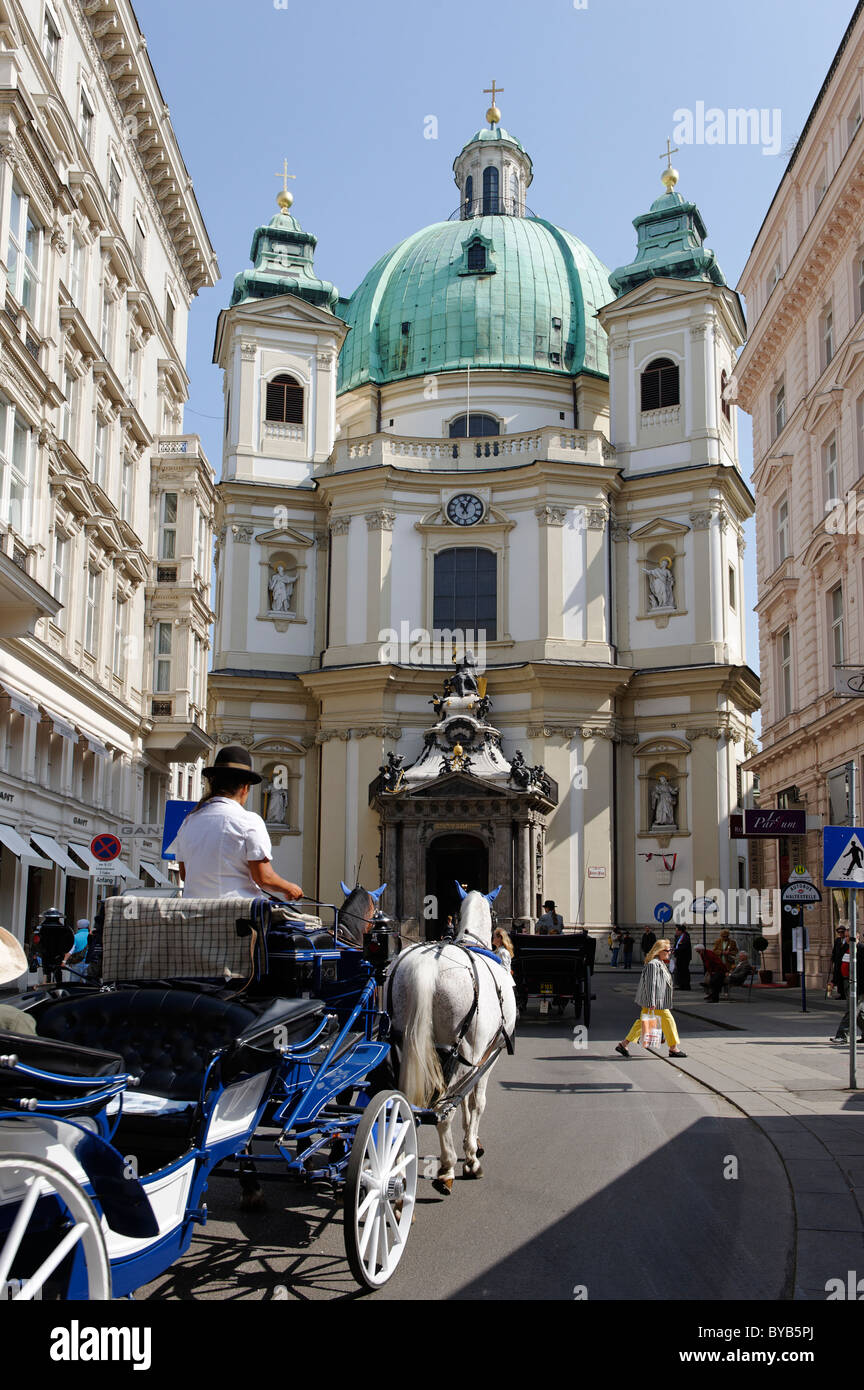 Petersplatz square, Fiaker taxi carriage and the Church of St. Peter, 1st district, Vienna, Austria, Europe - Stock Image