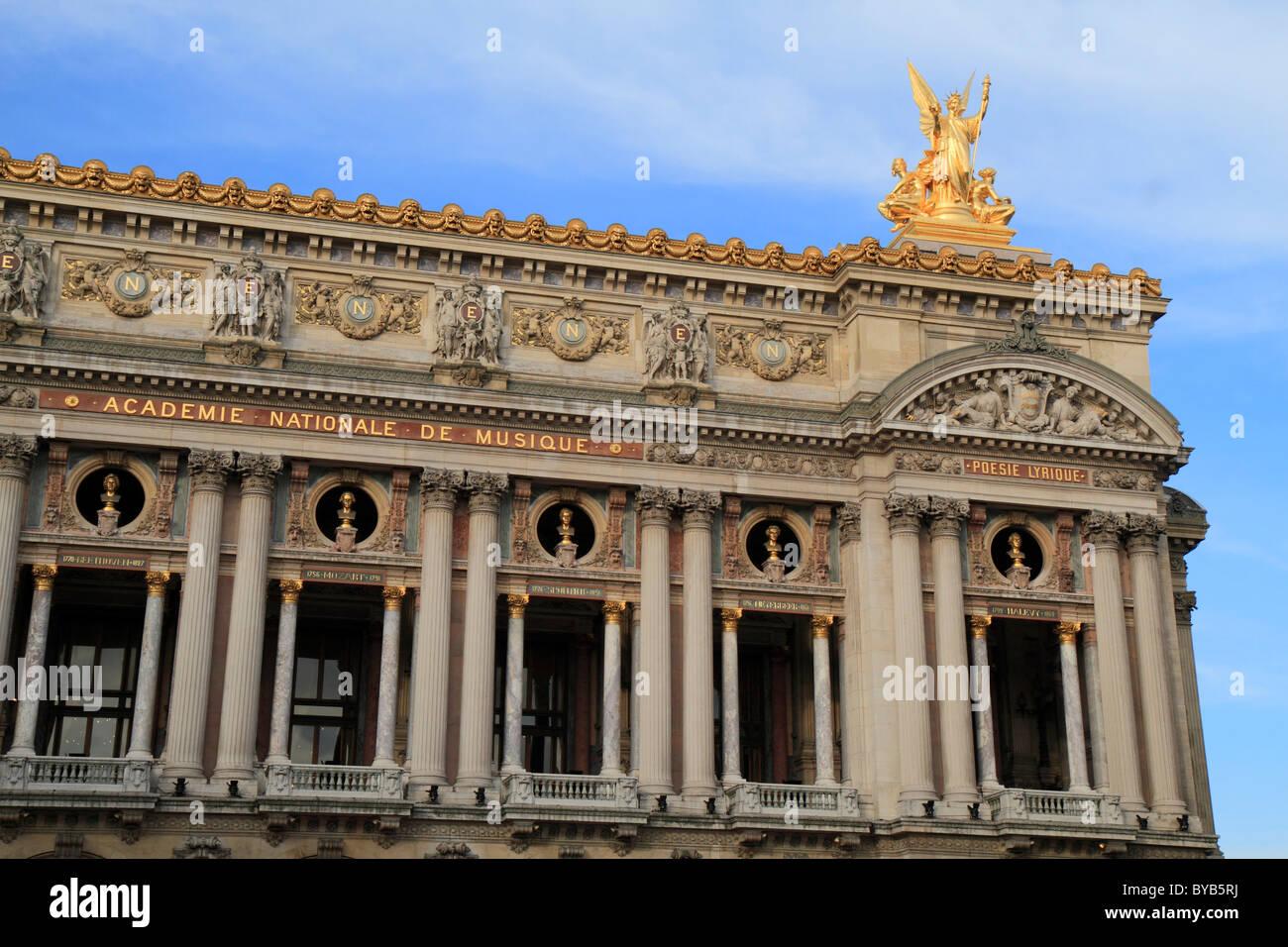 Main facade, Opéra de Paris, Palais Garnier, 9th Arrondissement, Paris, France, Europe - Stock Image