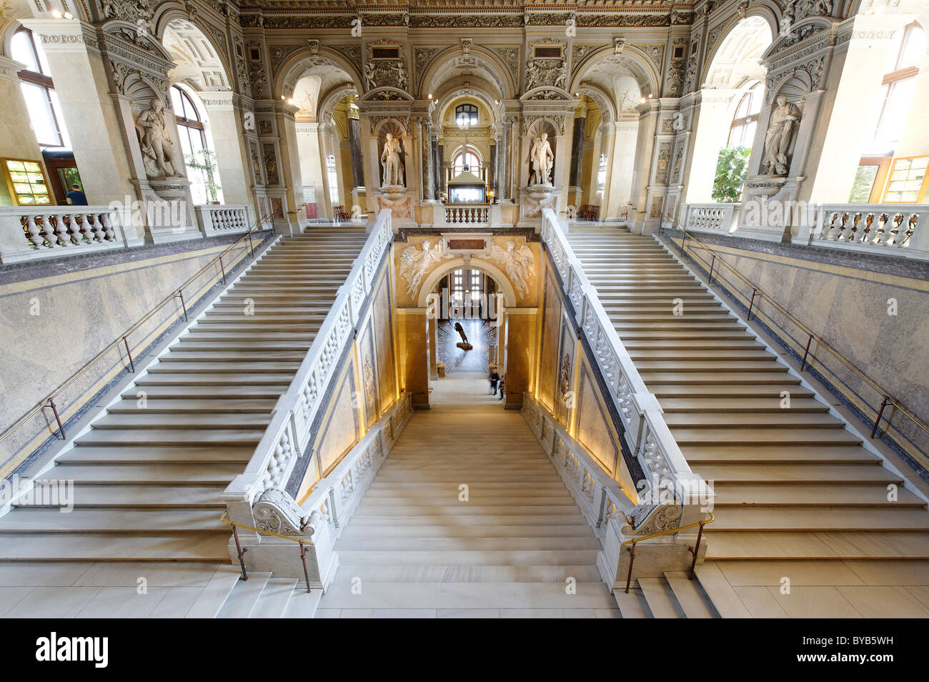 Staircase, cupola, Museum of Natural History, Maria Theresienplatz square, 1st district, Vienna, Austria, Europe - Stock Image