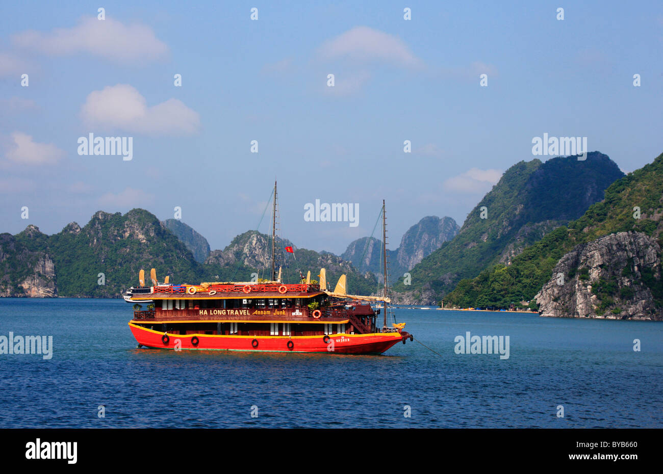Tourist boat in Halong Bay, Vietnam, Asia - Stock Image