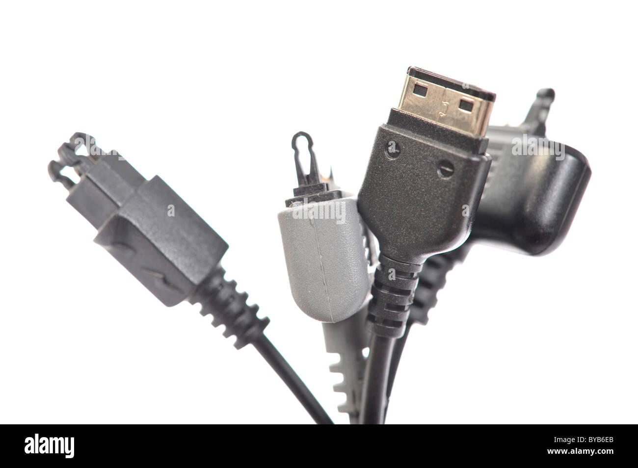 Various plugs for mobile phone charging connections, micro-USB plug standardization in 2011 - Stock Image