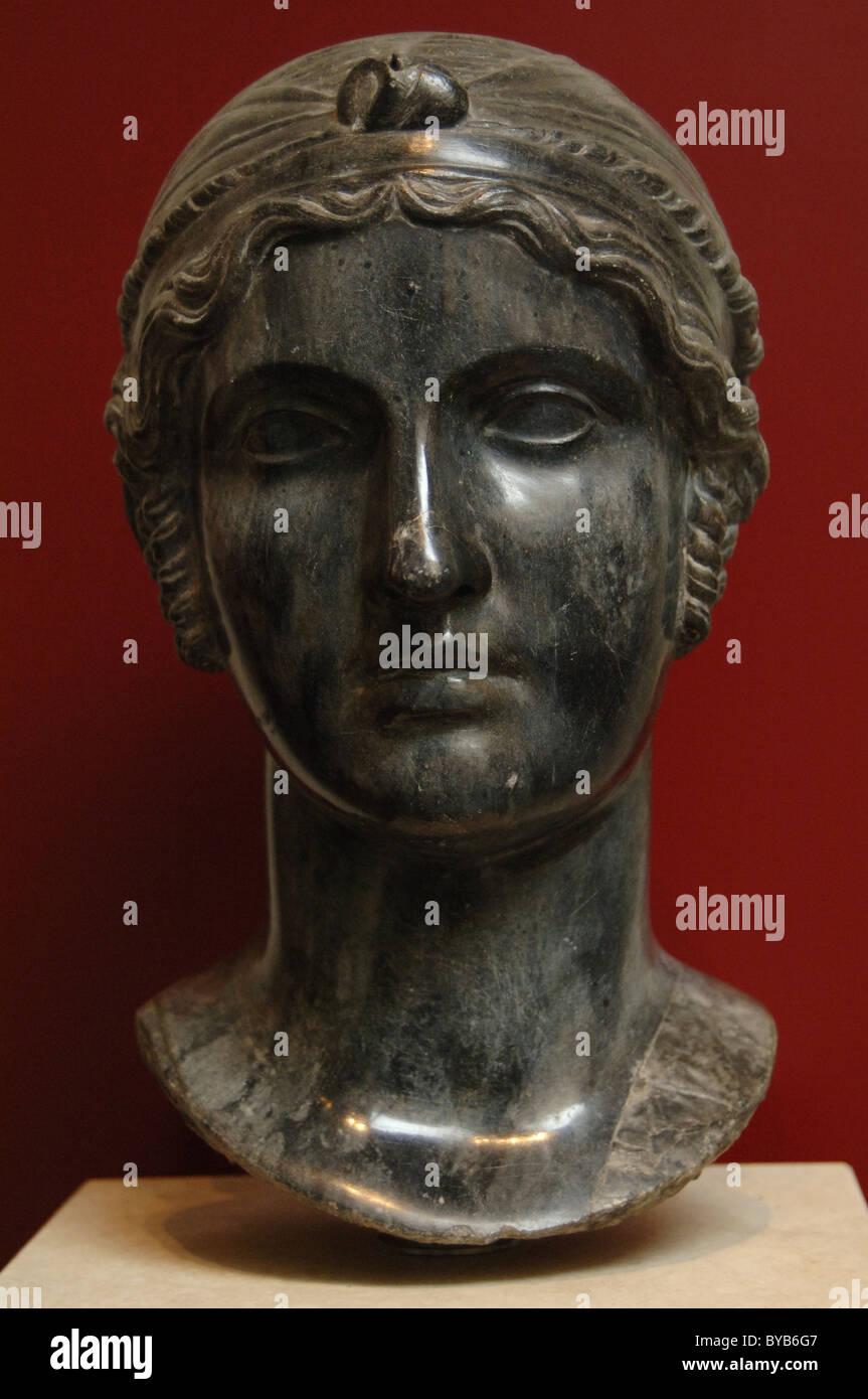 Sappho (c.612-c..570 B.C.). Ancient Greek poet. Bust. Black basalt. Copy of 16th-17th centuries from a Greek original.Stock Photo