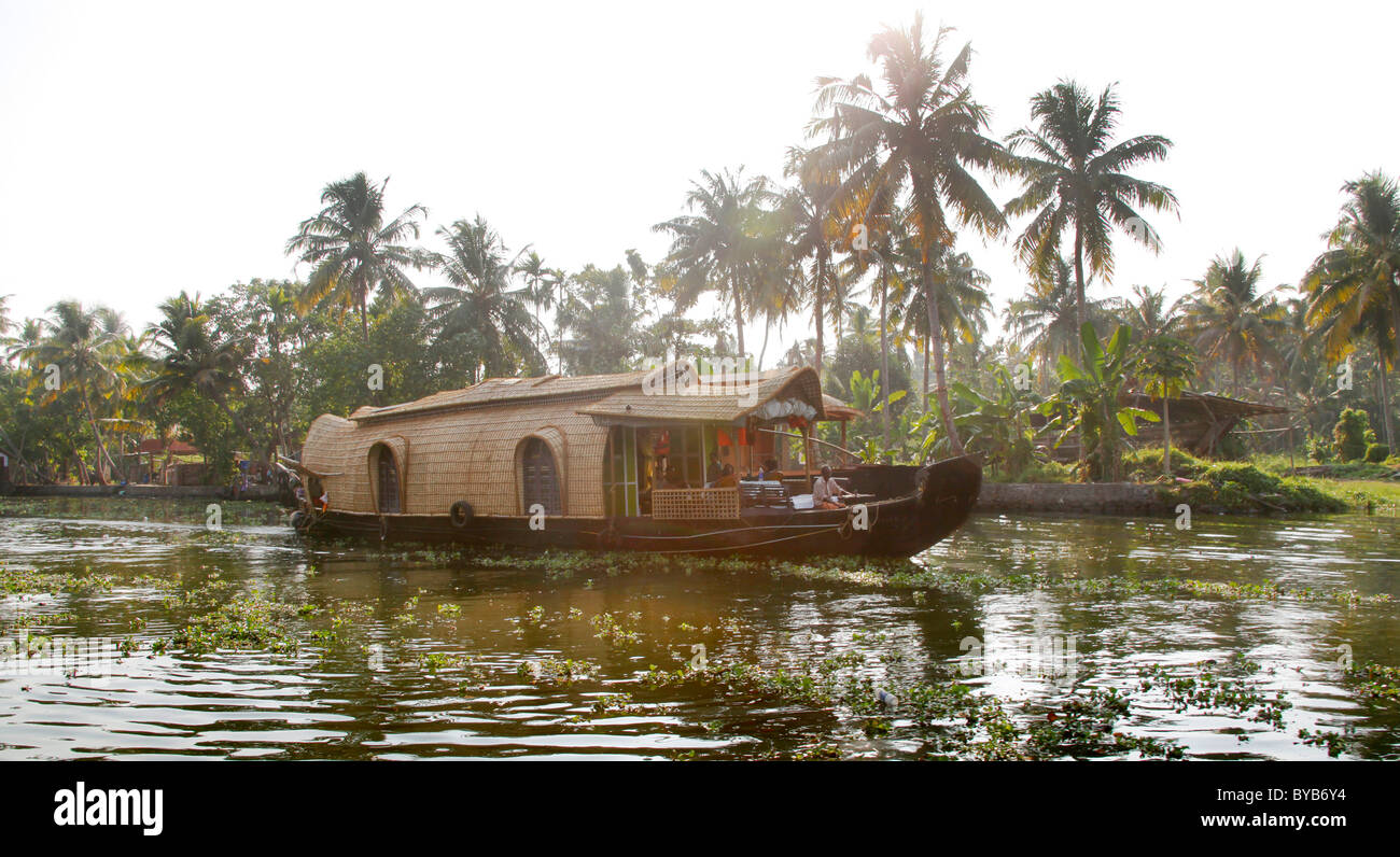 Luxury house boat on a canal, backwater, Haripad, Alleppey, Kerala, India, Asia - Stock Image