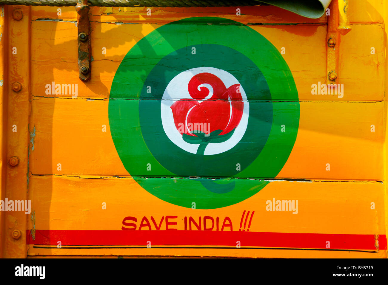 Save India, painting on a truck, Cochin, Kochi, Kerala, India, Asia - Stock Image