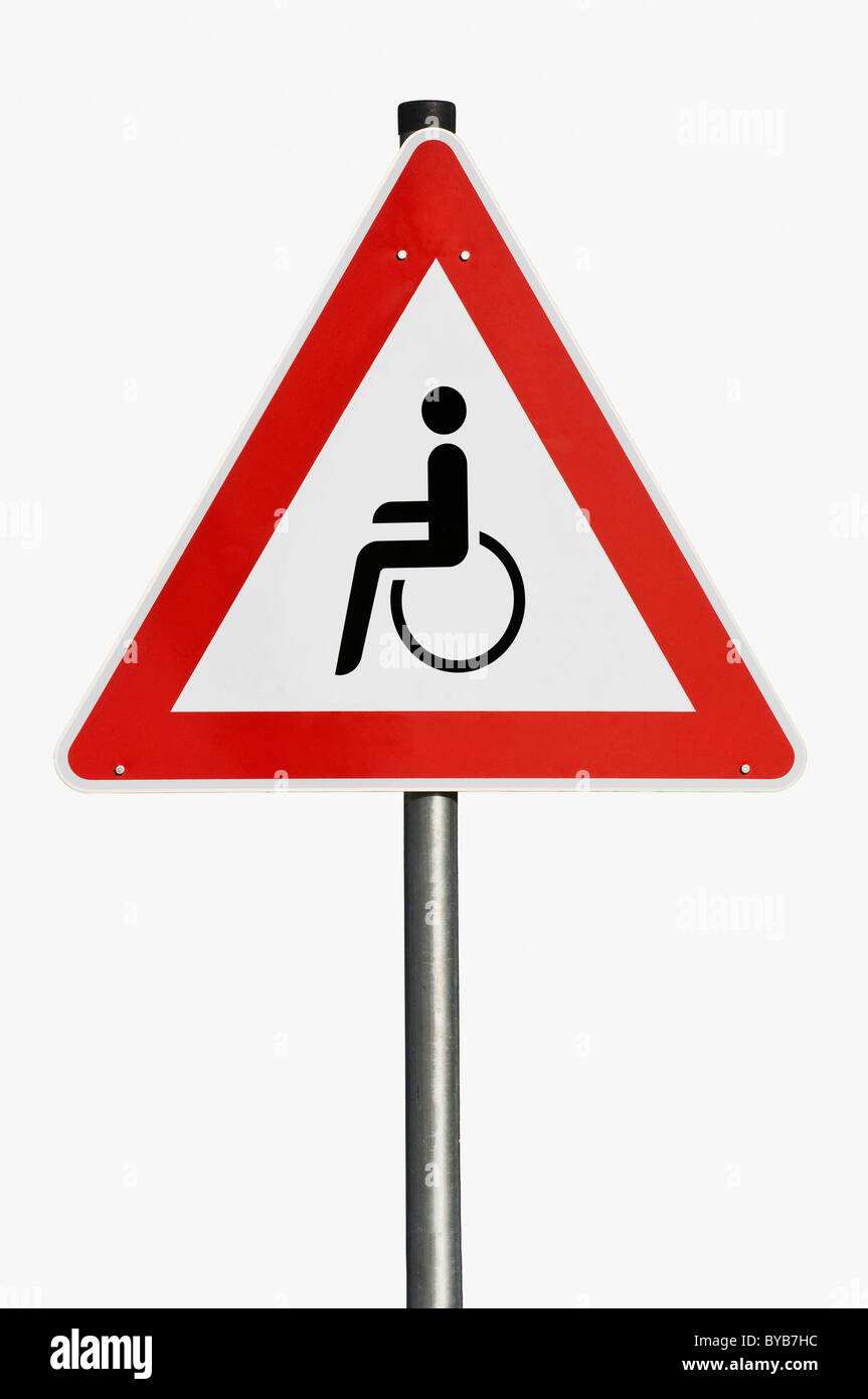 Danger sign, wheelchair users, composite image - Stock Image