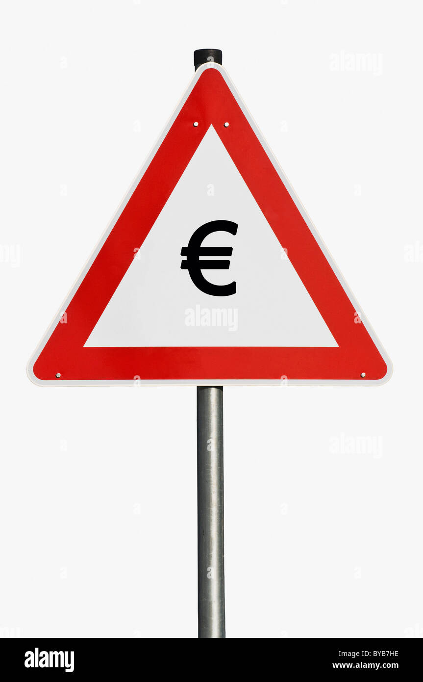 Danger sign, Euro currency, composite image - Stock Image