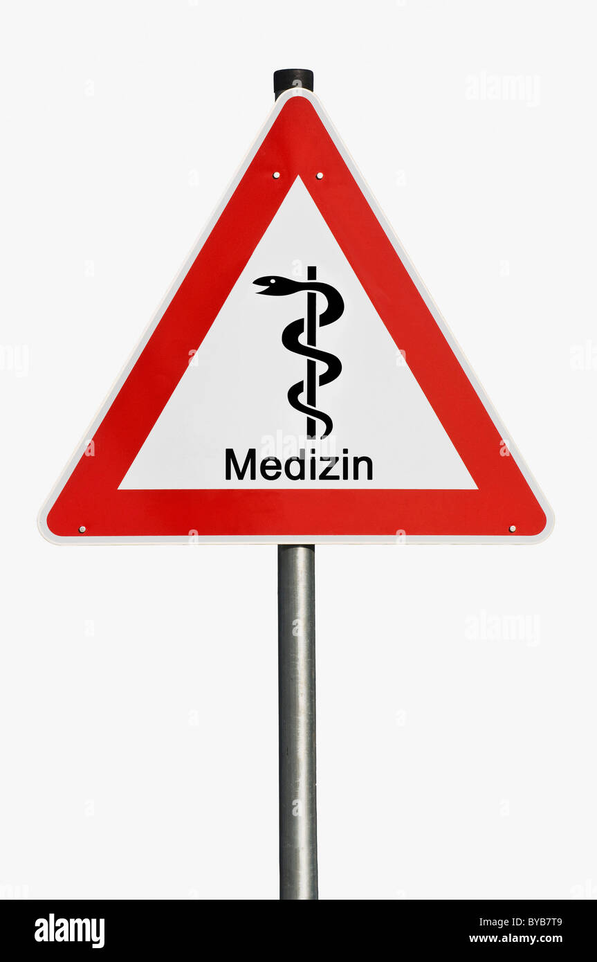 Danger sign, Medizin, German for medicine, staff of Aesculapius, risk, hazard, symbolic image for spiralling costs Stock Photo
