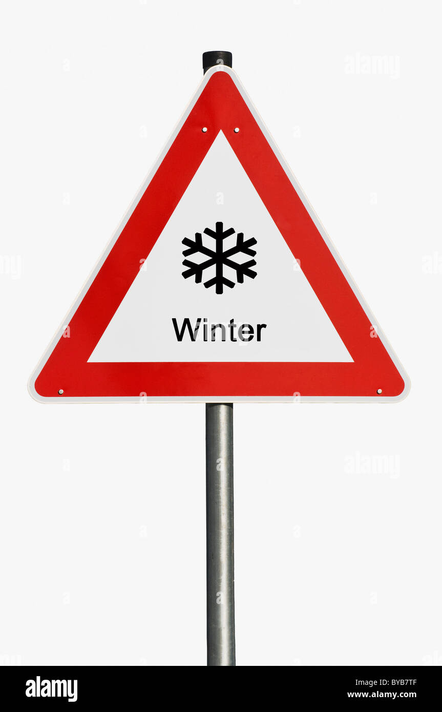 Danger sign, winter, icy roads, composite image - Stock Image
