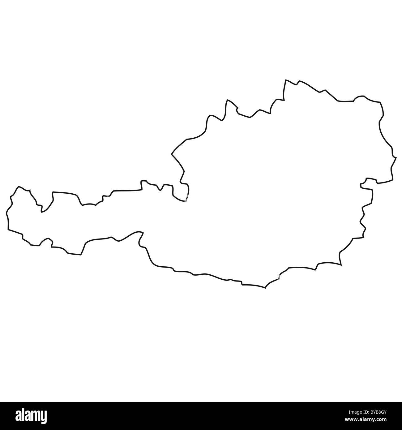 Outline, map of Austria Stock Photo: 34054299 - Alamy