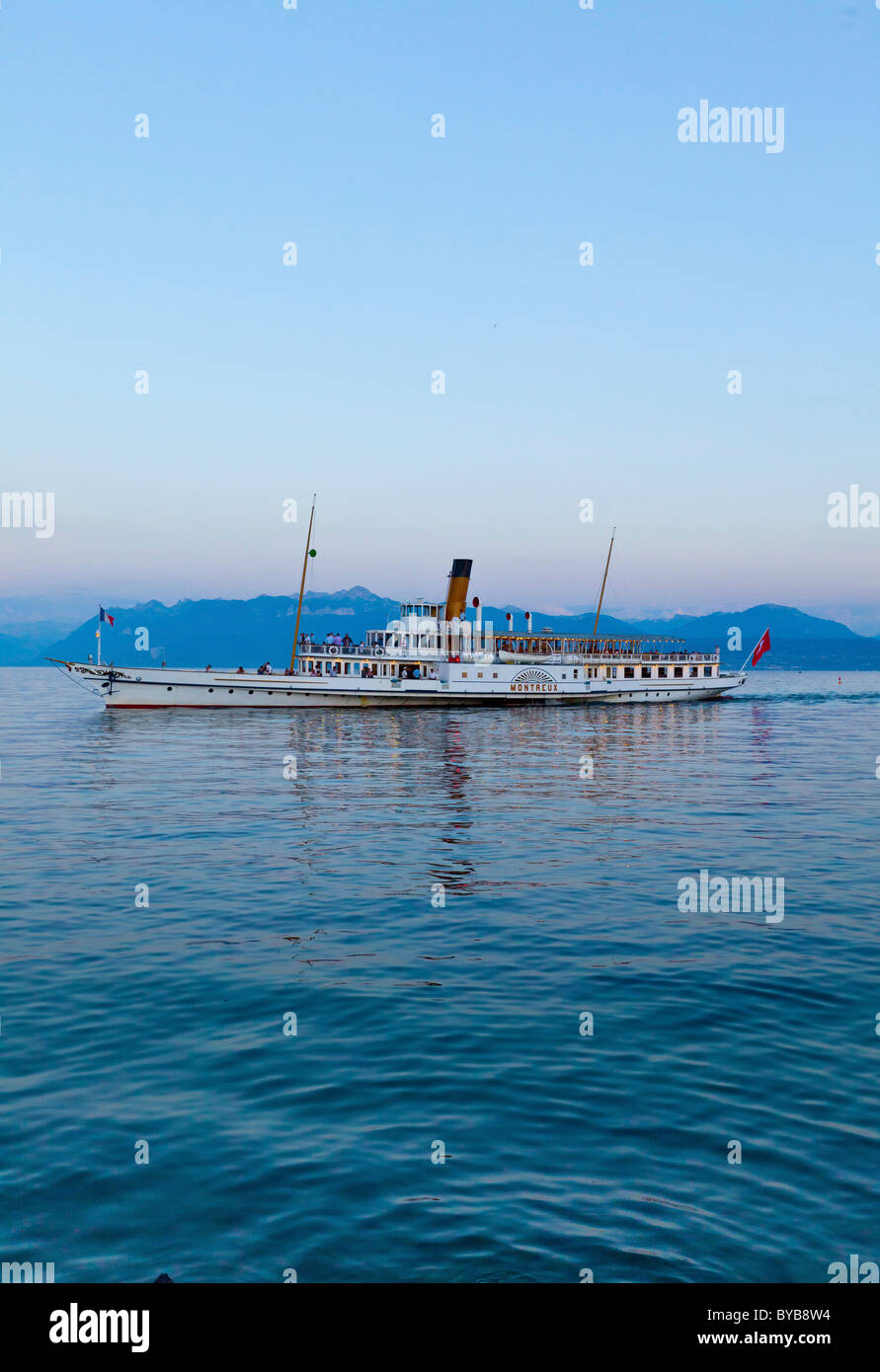 Old paddle-steamer as a ferry for tourists, Morges, Canton of Vaud, Lake Geneva, Switzerland, Europe - Stock Image