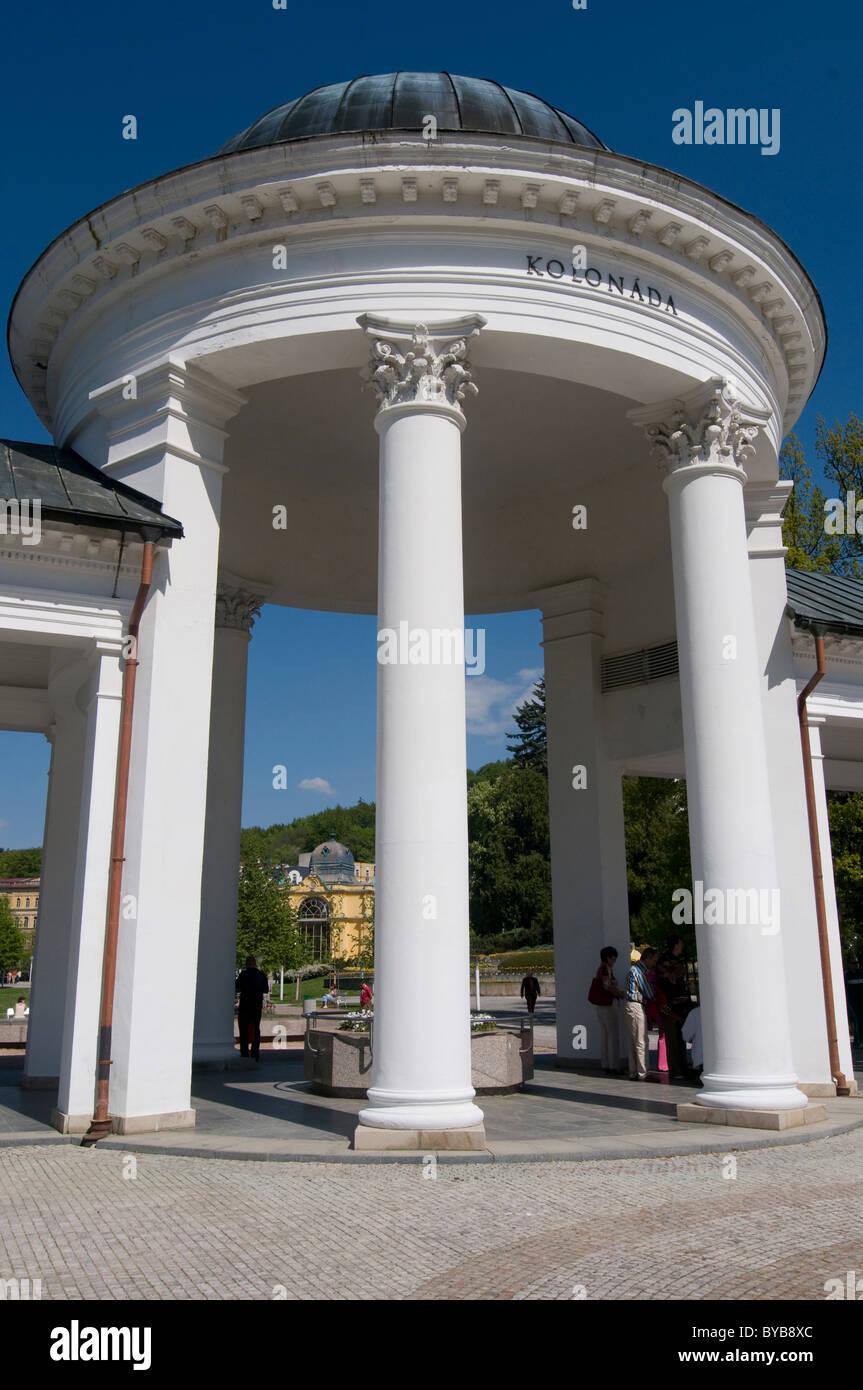 Walkway with columns and cupola, Mariánské Lázně, Marienbad, Czech Republic, Europe Stock Photo