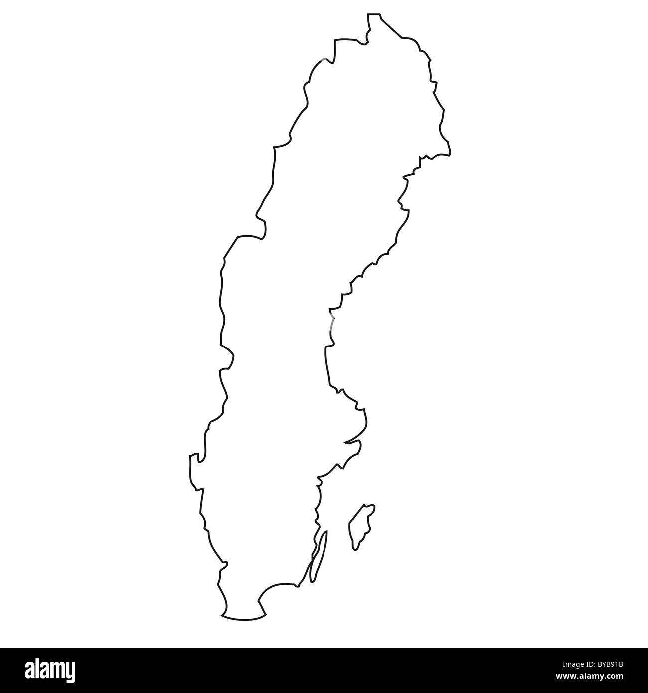 Outline, map of Sweden - Stock Image