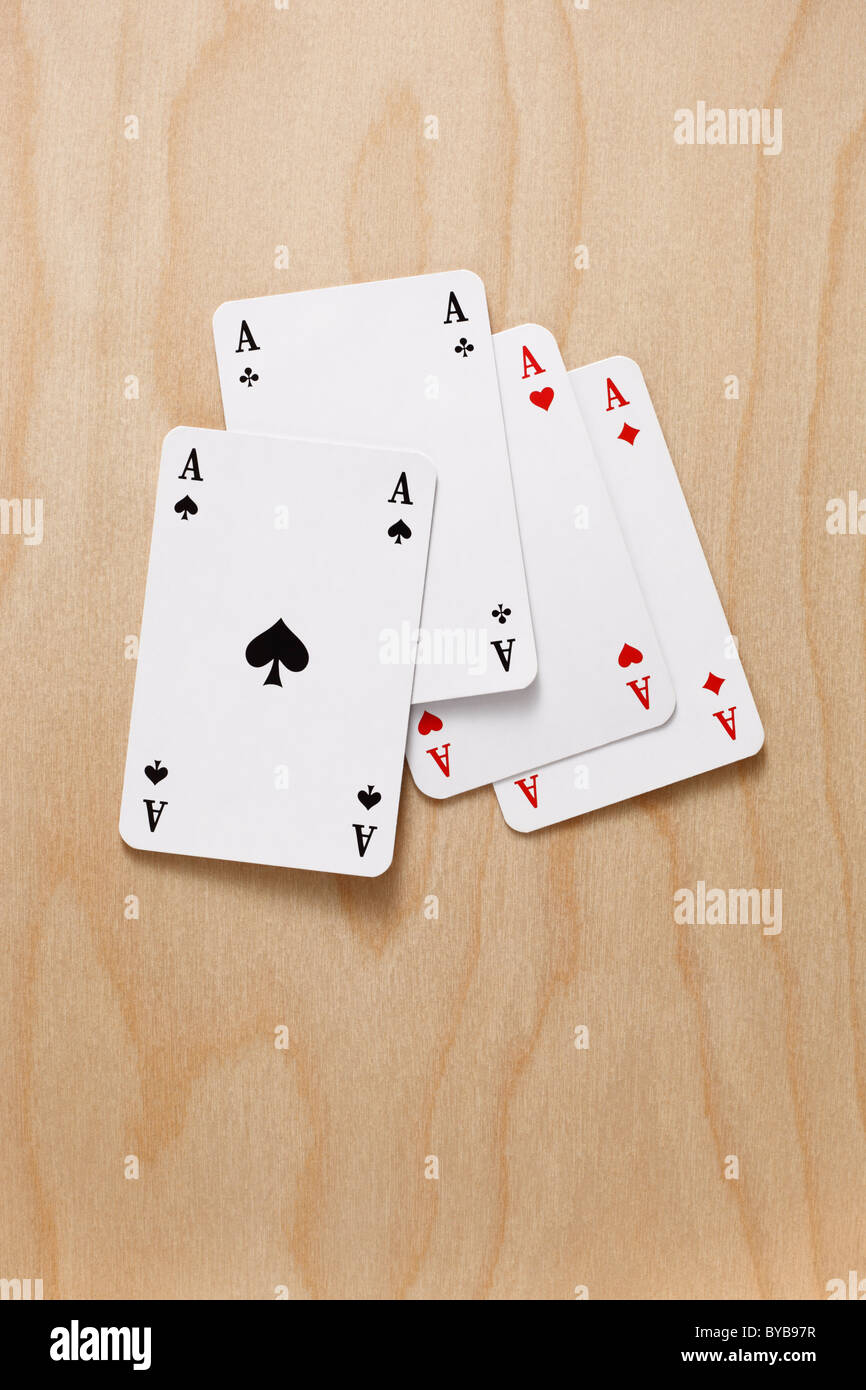playing cards ace of hearts ace of diamonds ace of spades ace of clubs - Stock Image