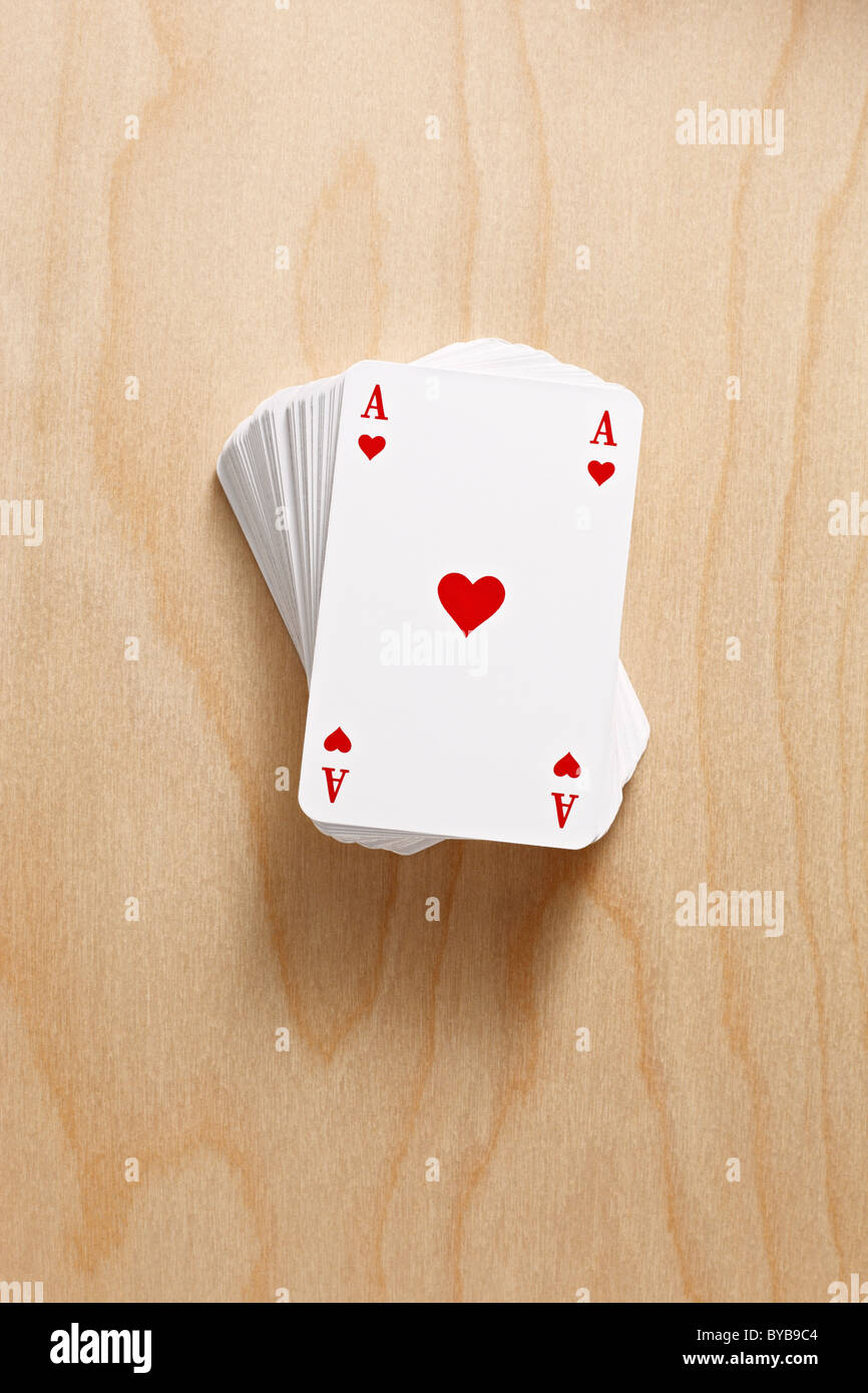 deck of cards with ace of hearts - Stock Image