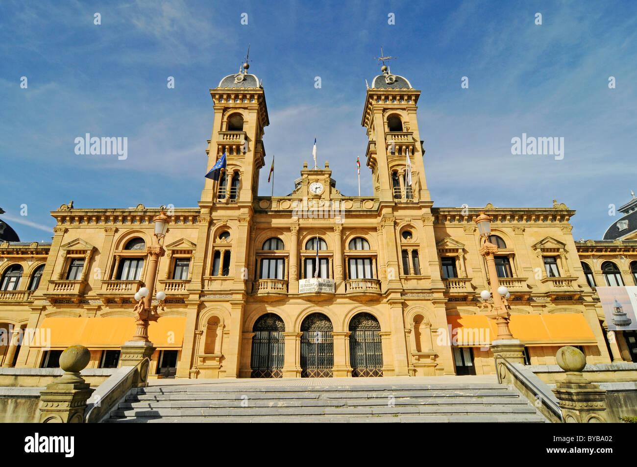 City Hall, San Sebastian, Pais Vasco, Basque Country, Spain, Europe - Stock Image