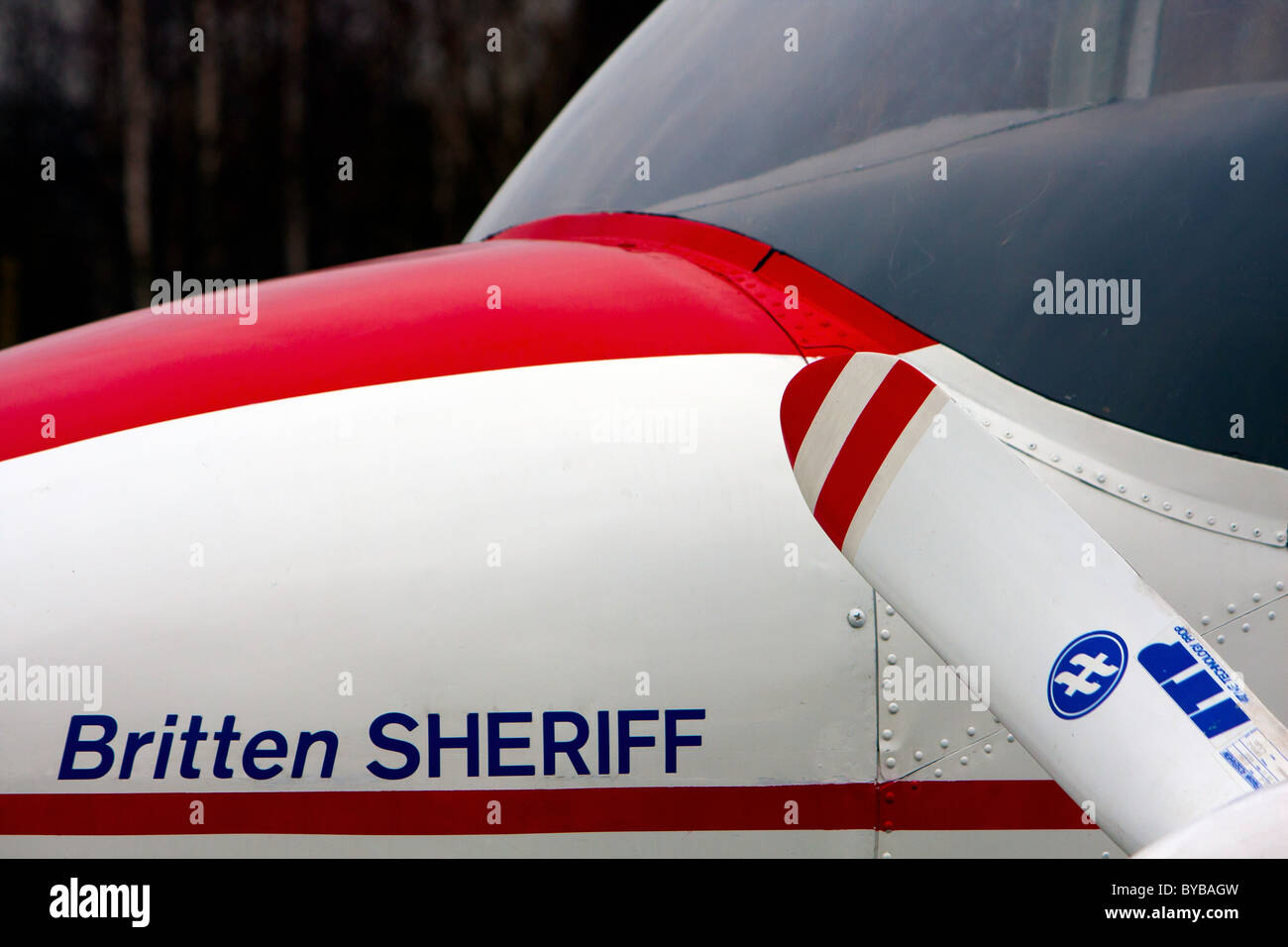 The nose and front window of the Britten Sheriff airplane at the aeroport beside East Midlands Airport in Nottingham - Stock Image