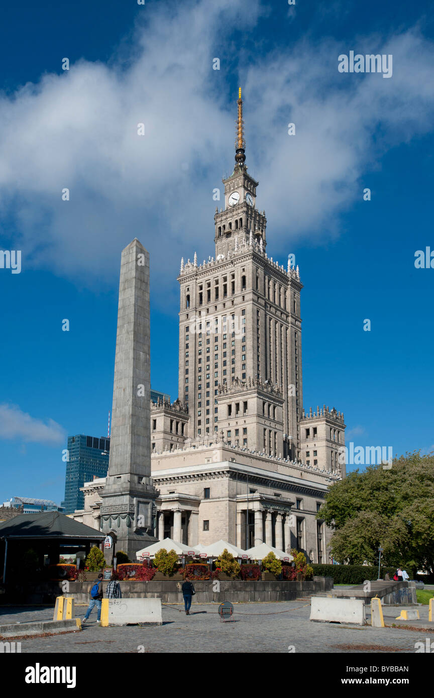 Palace of Culture and Science, high-rise building in a wedding-cake style, landmark, Warsaw, Mazowieckie, Poland, Stock Photo