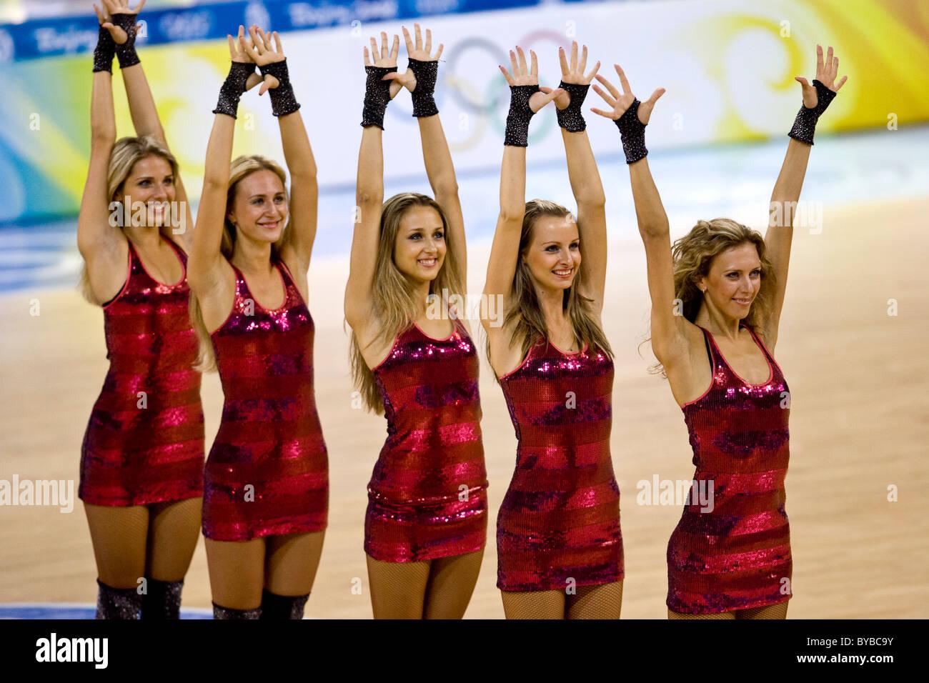 Cheerleaders At The Usa China Men S Basketball Game At The 2008 Stock Photo Alamy