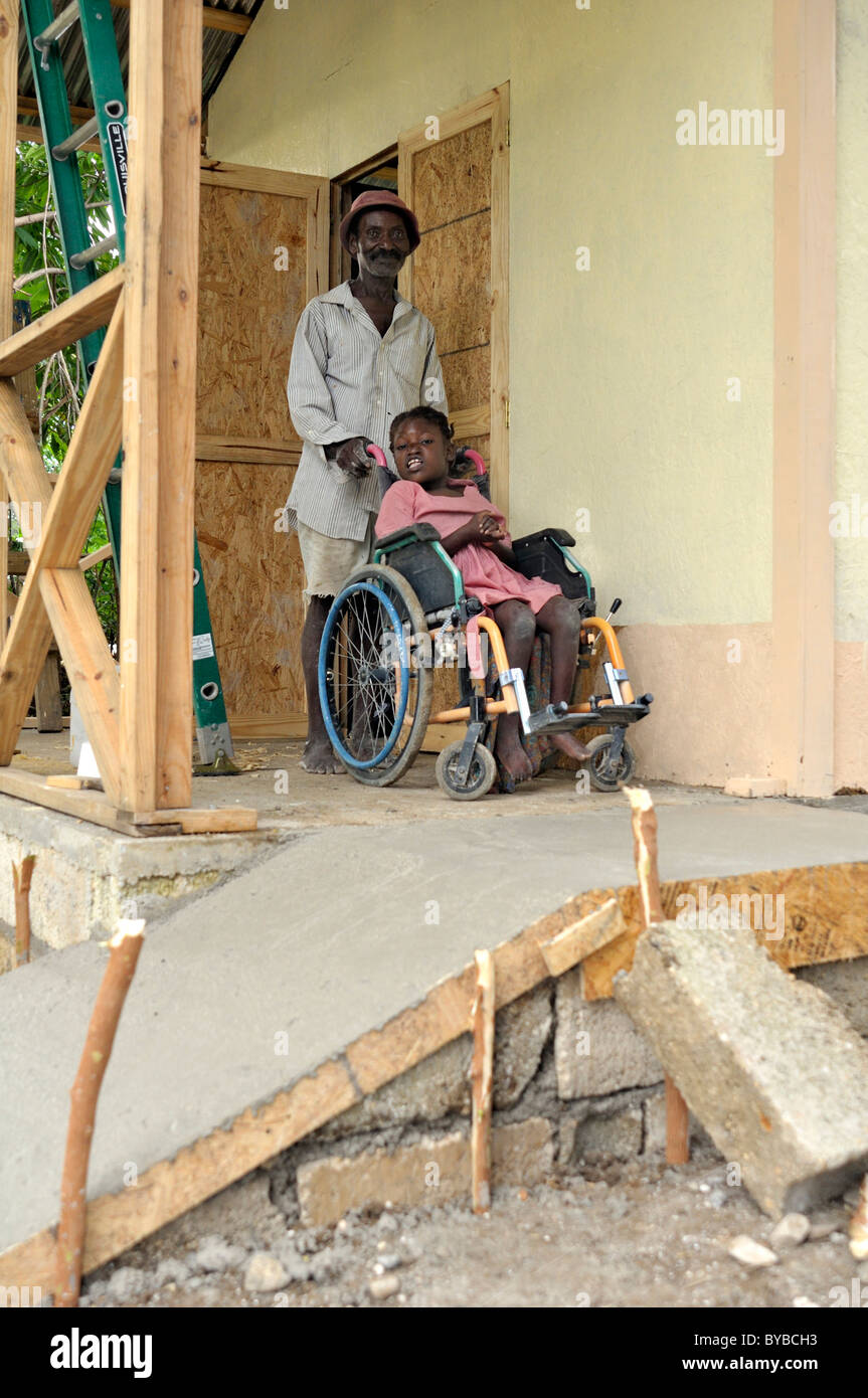 Construction of an earthquake-proof house with disabled ramp suitable for wheelchair use, prefabricated house built - Stock Image