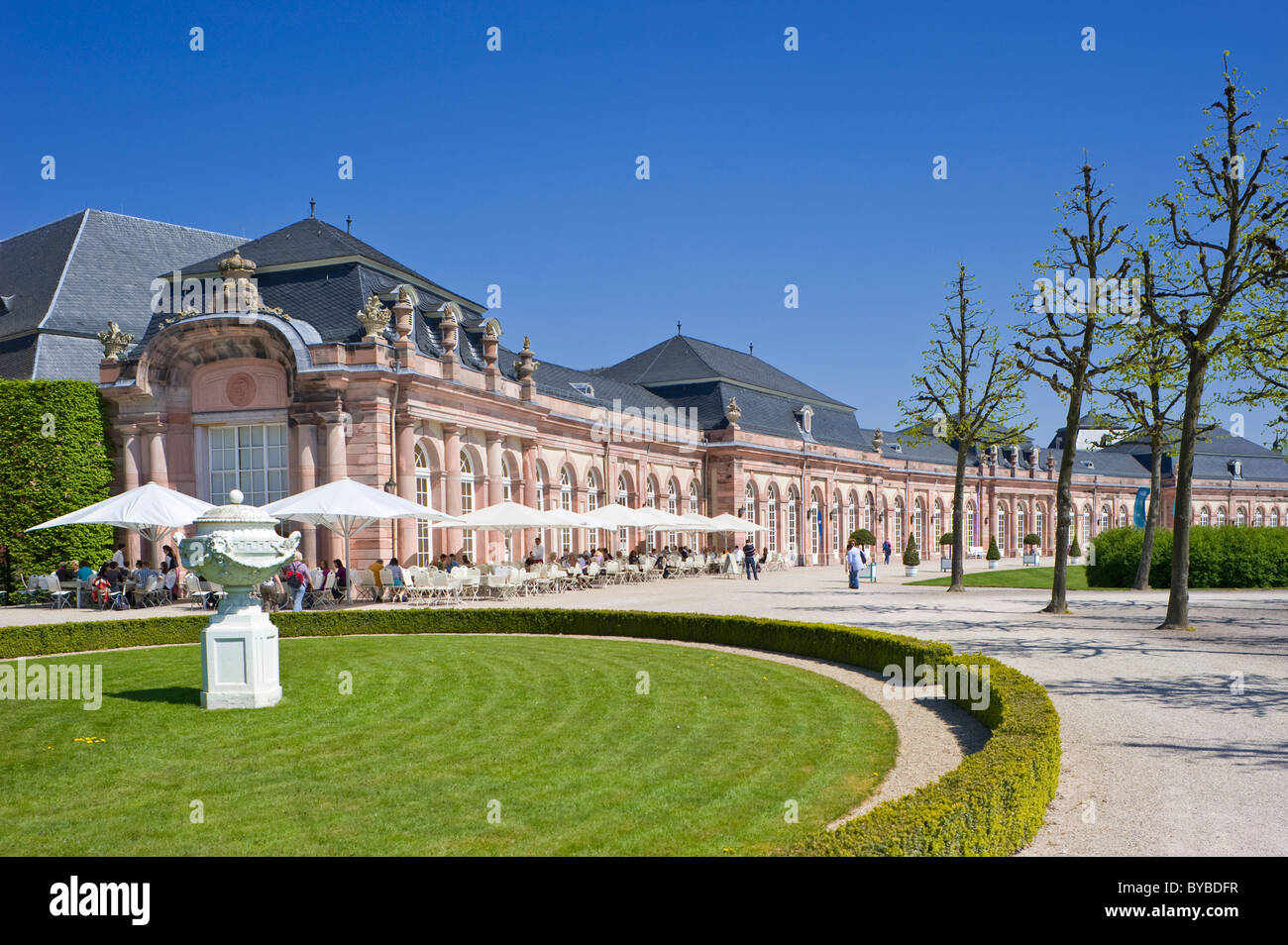 Schloss Schwetzingen Palace, Palace Gardens, north Zirkelbau building, Schwetzingen, Electoral Palatinate, Baden - Stock Image